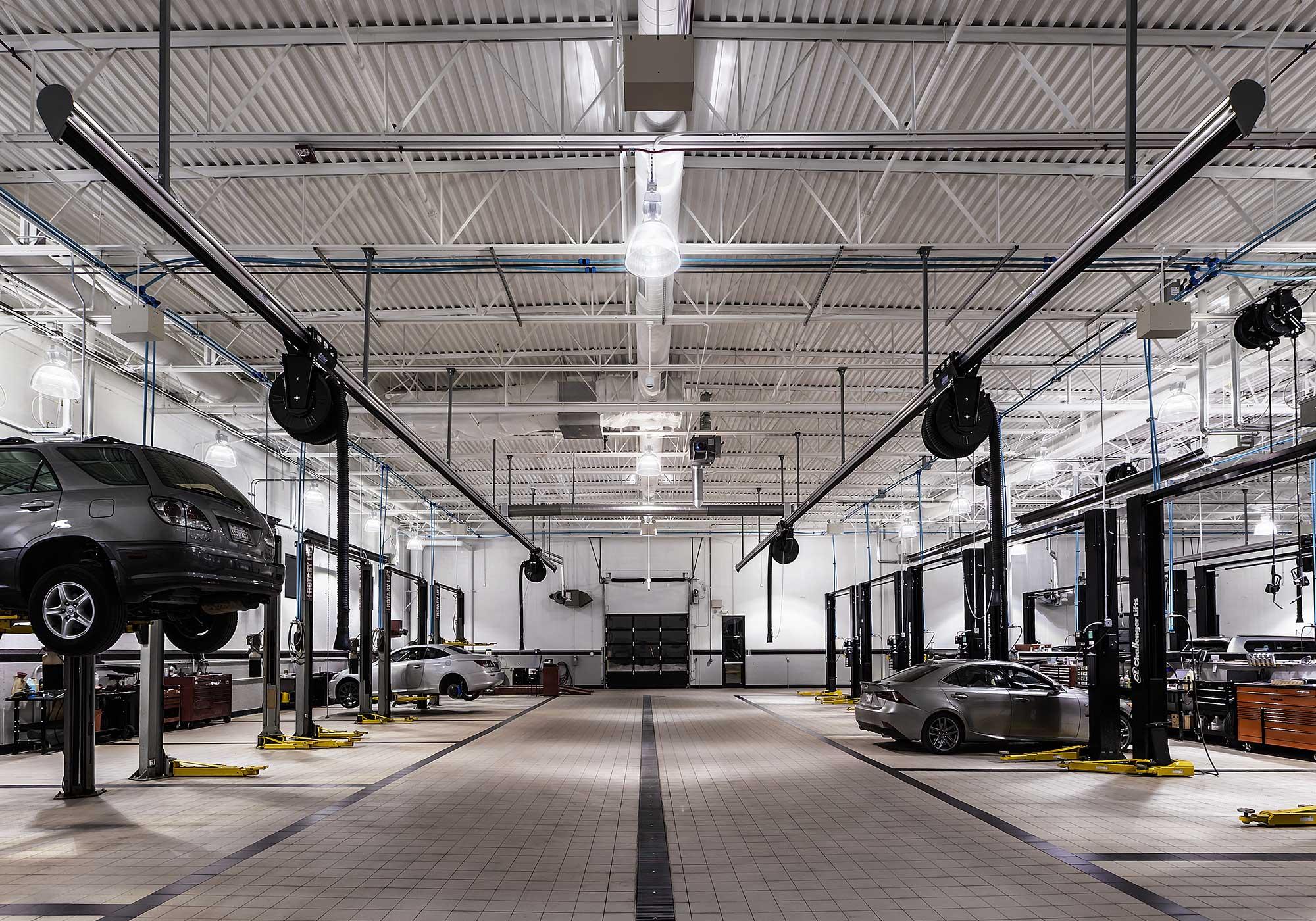 Cars in the repair bay