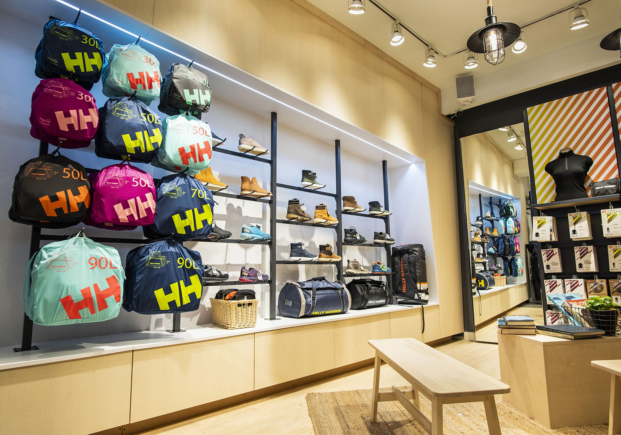 Bag and athletic shoe display