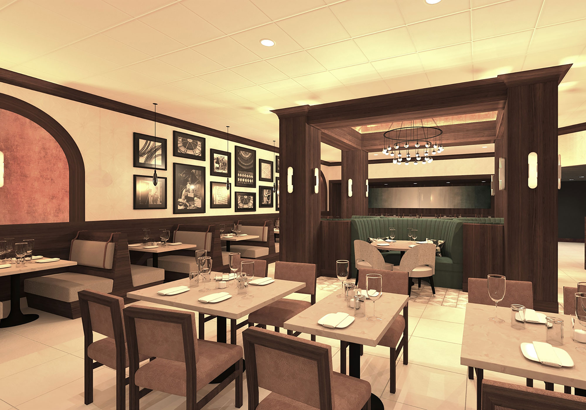 Dining area rendering with tables and booths