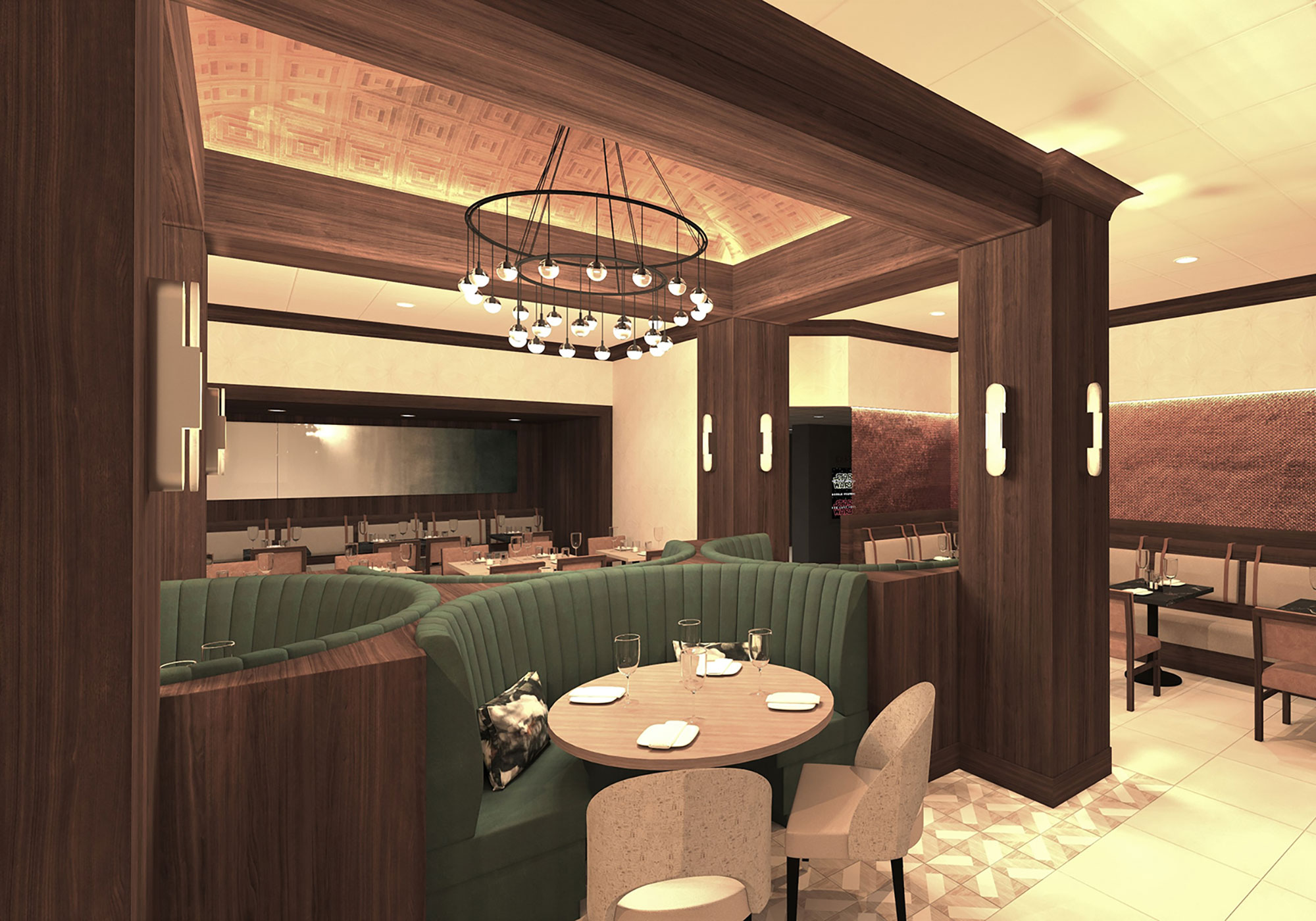 Dining booth rendering