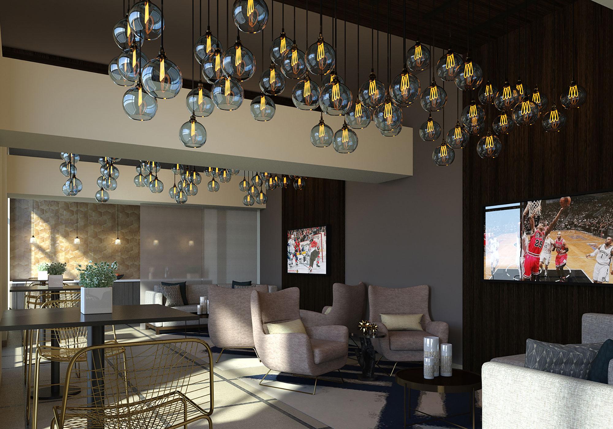Rendering of room with chandelier