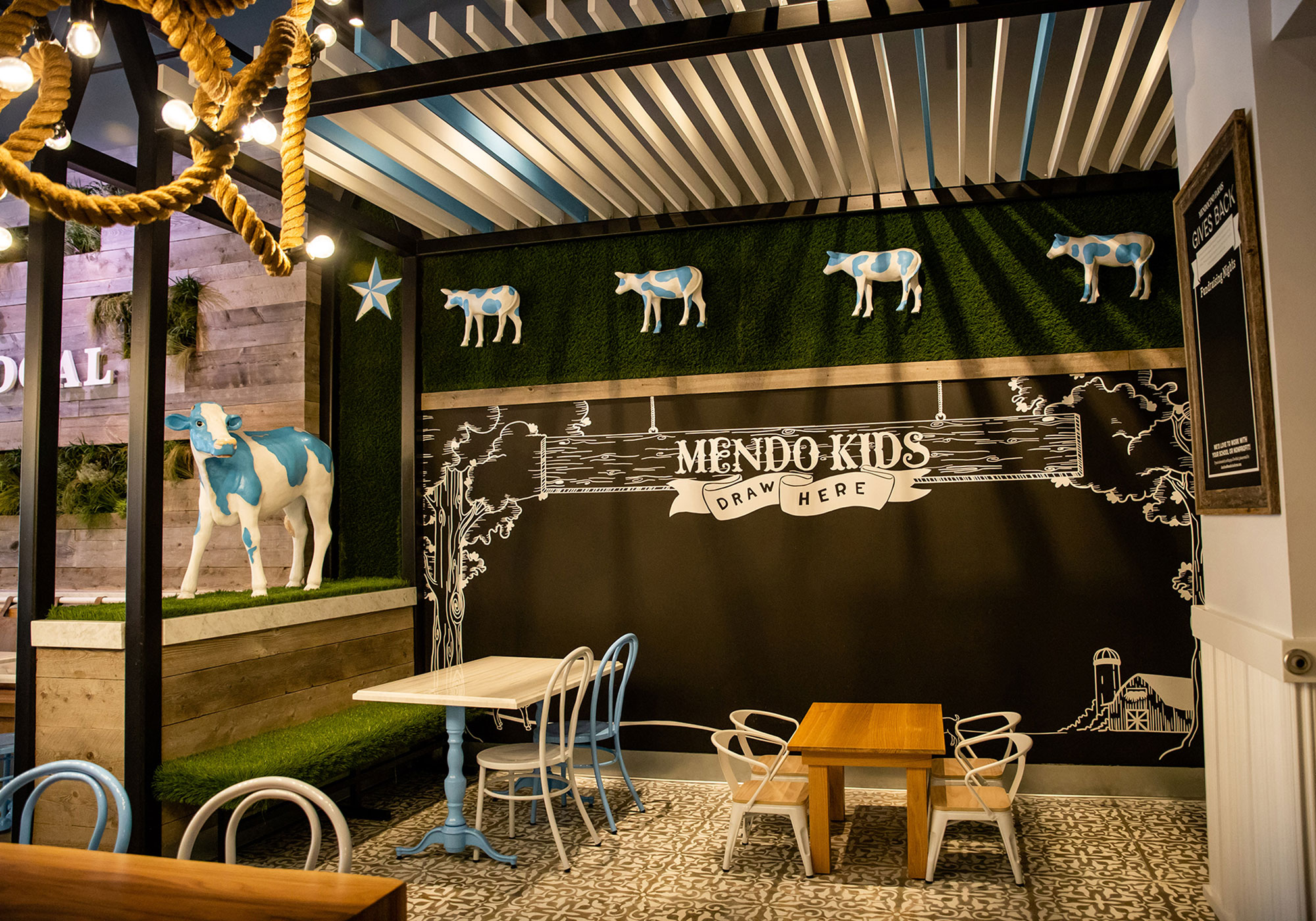Eating area with Mendo Kids on the wall