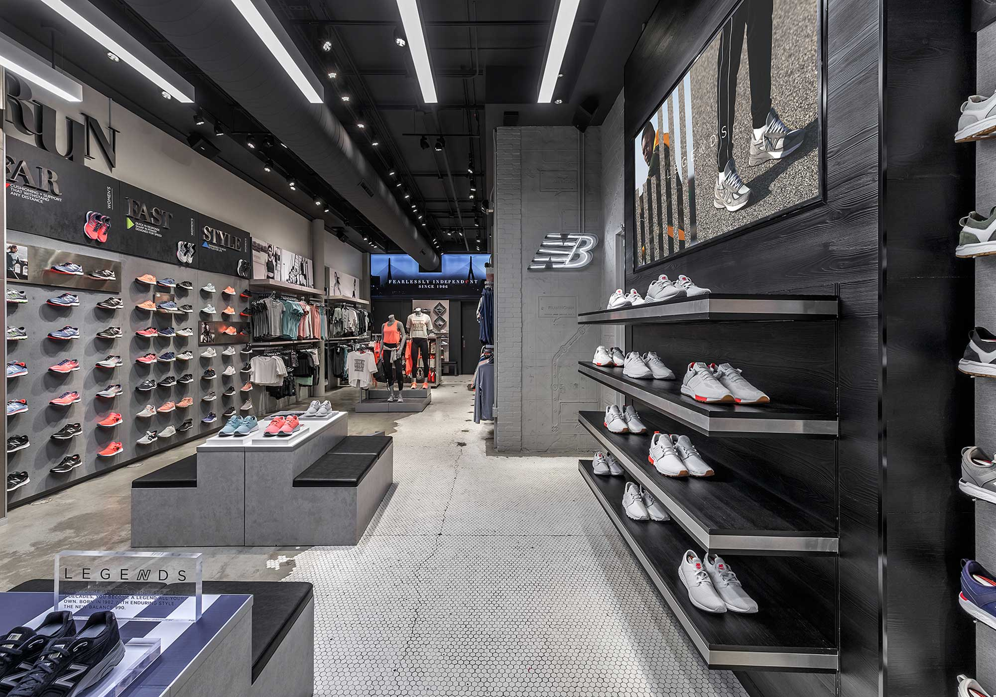Walls with rows of shoes displayed on them