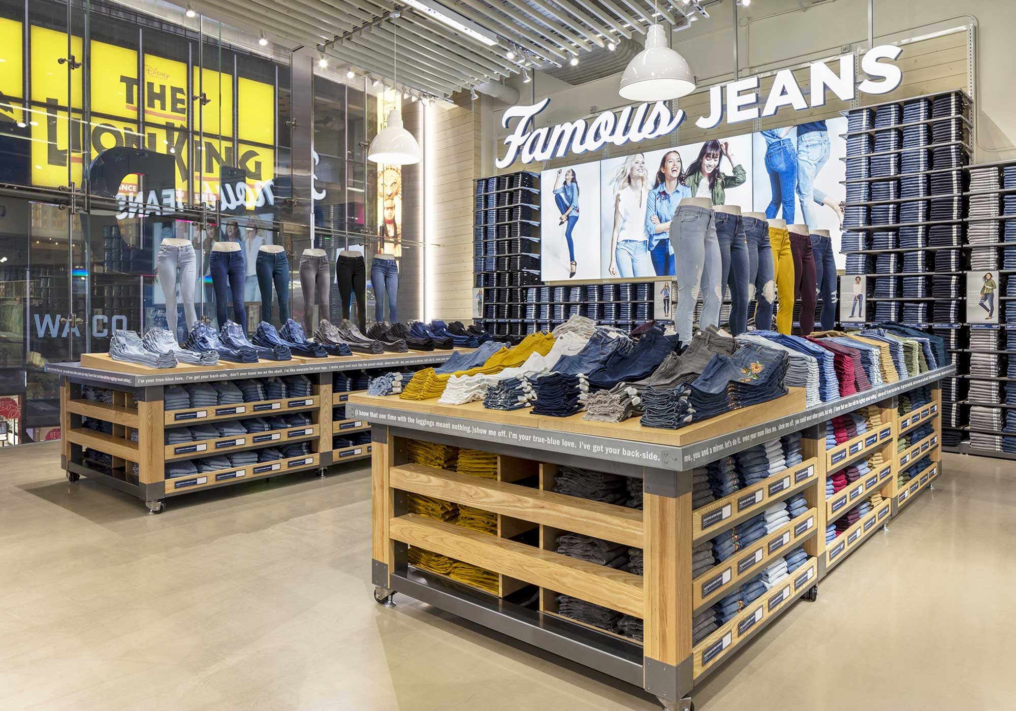 Jean display with neon sign
