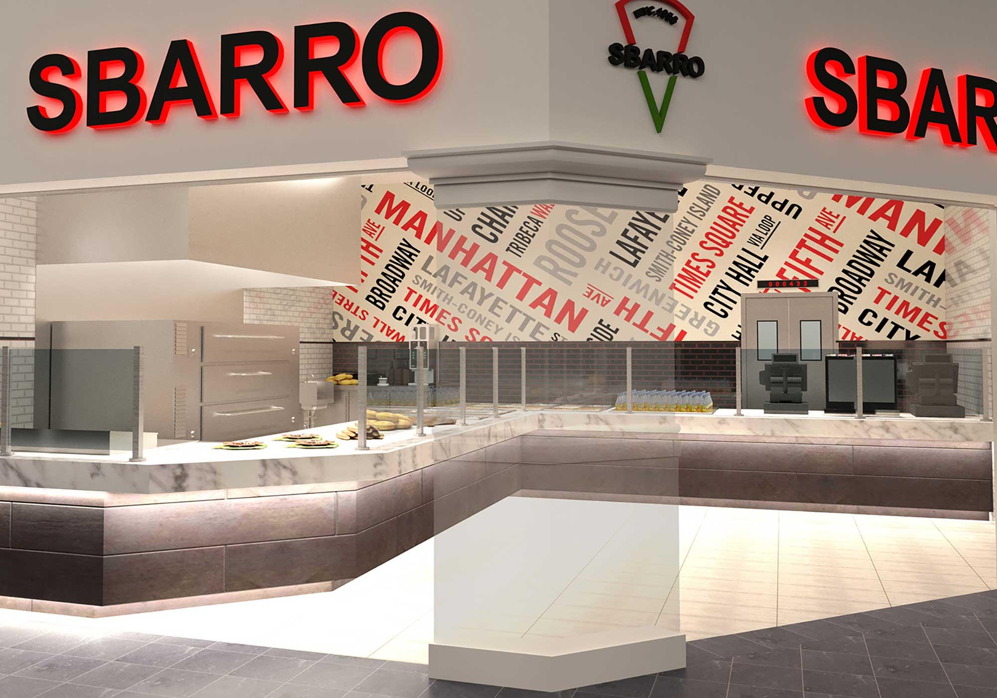 Rendering of Sbarro storefront