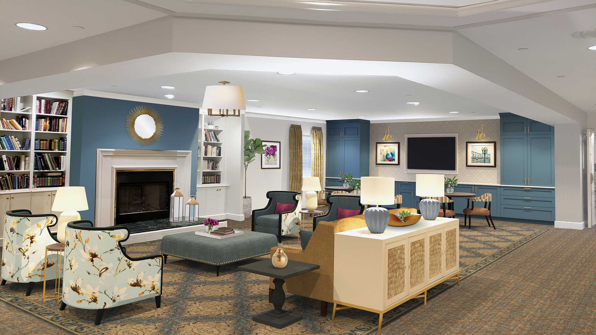 Rendering of living room-style common area