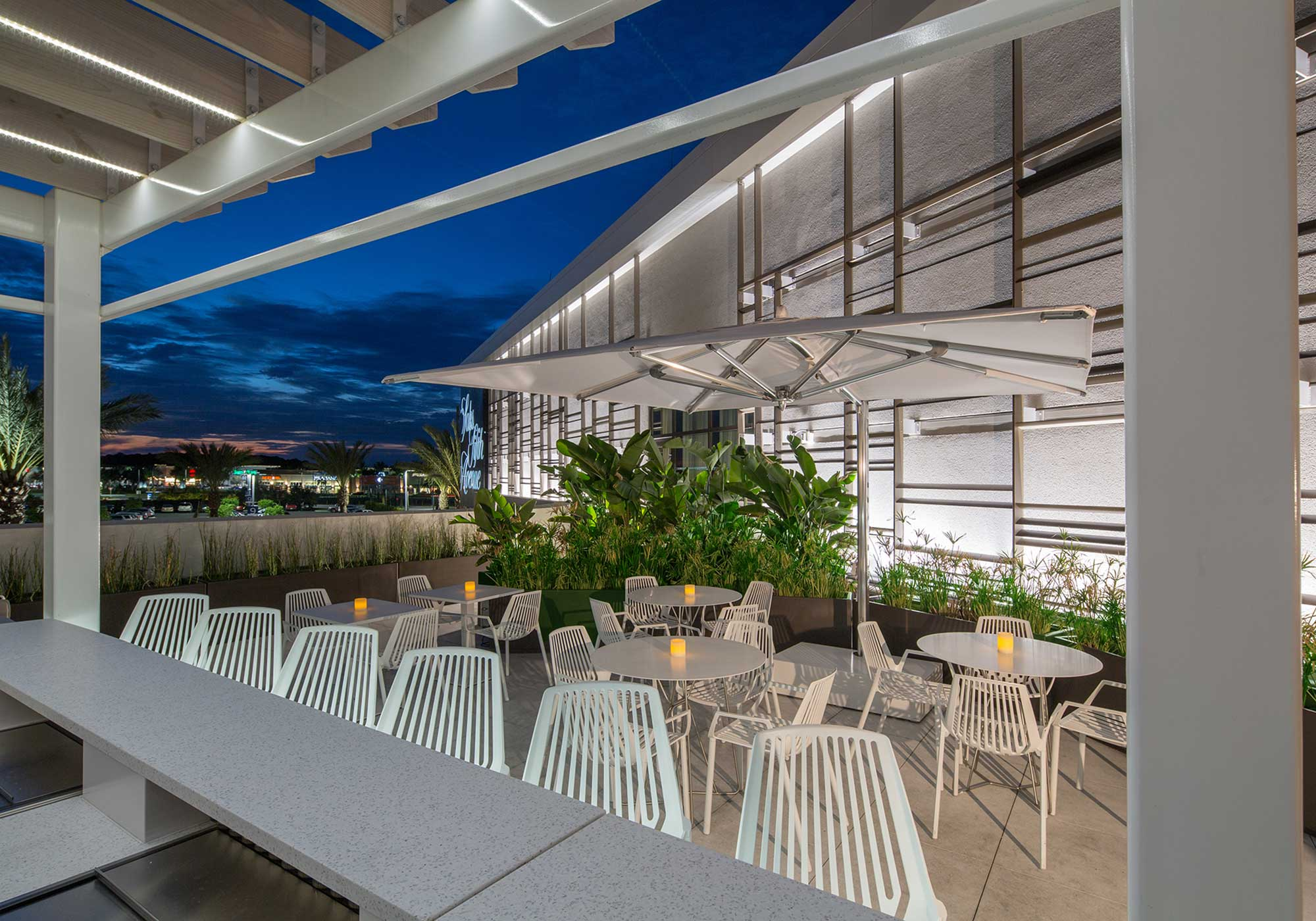 Outdoor dining area at twilight