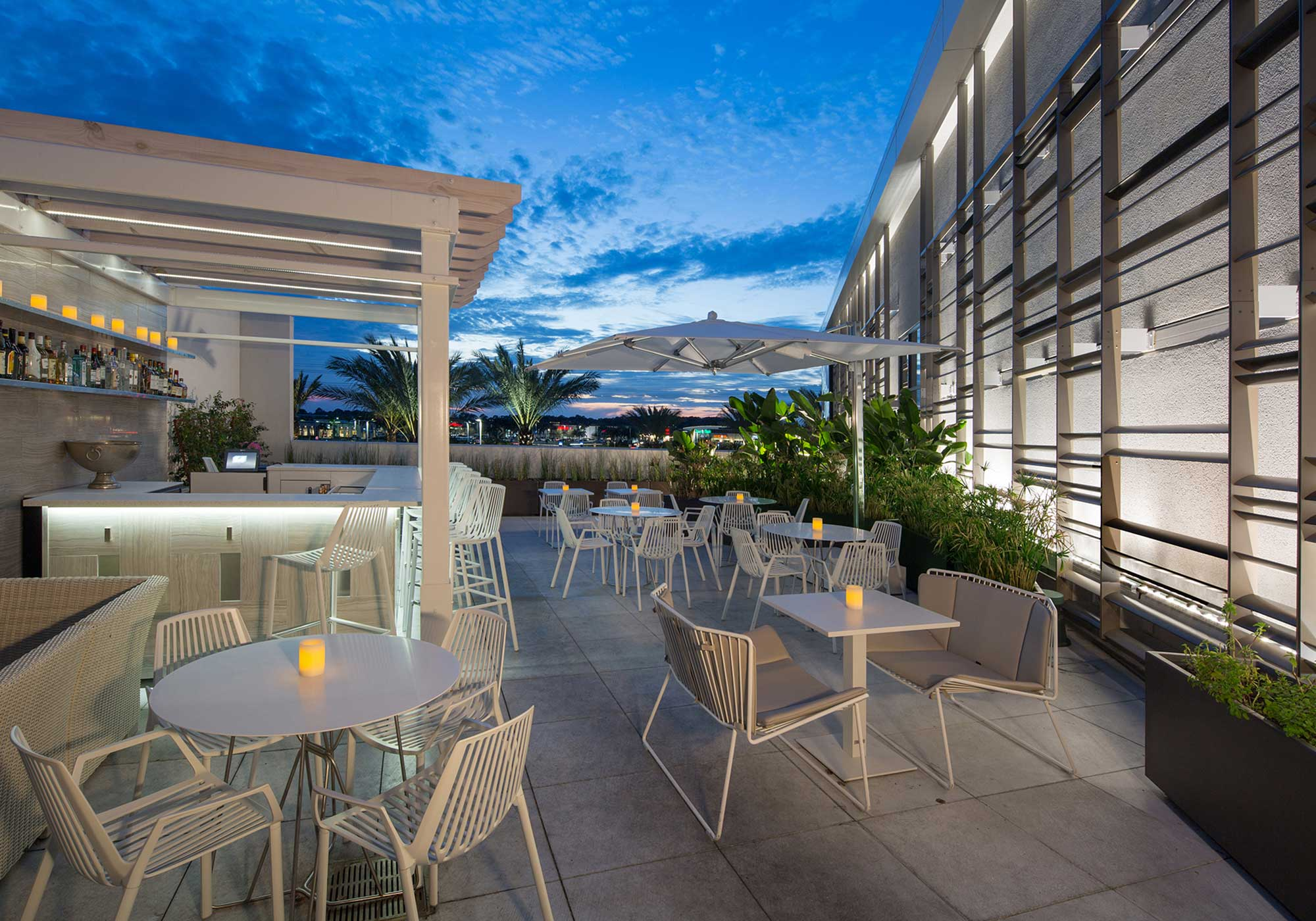 Outdoor dining as the sun sets