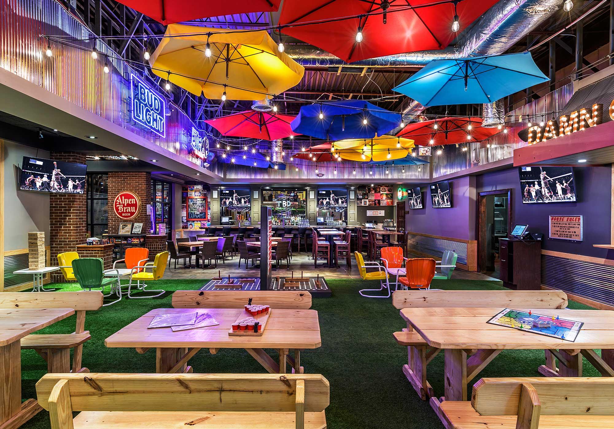 Large, open room with umbrella lighting fixtures