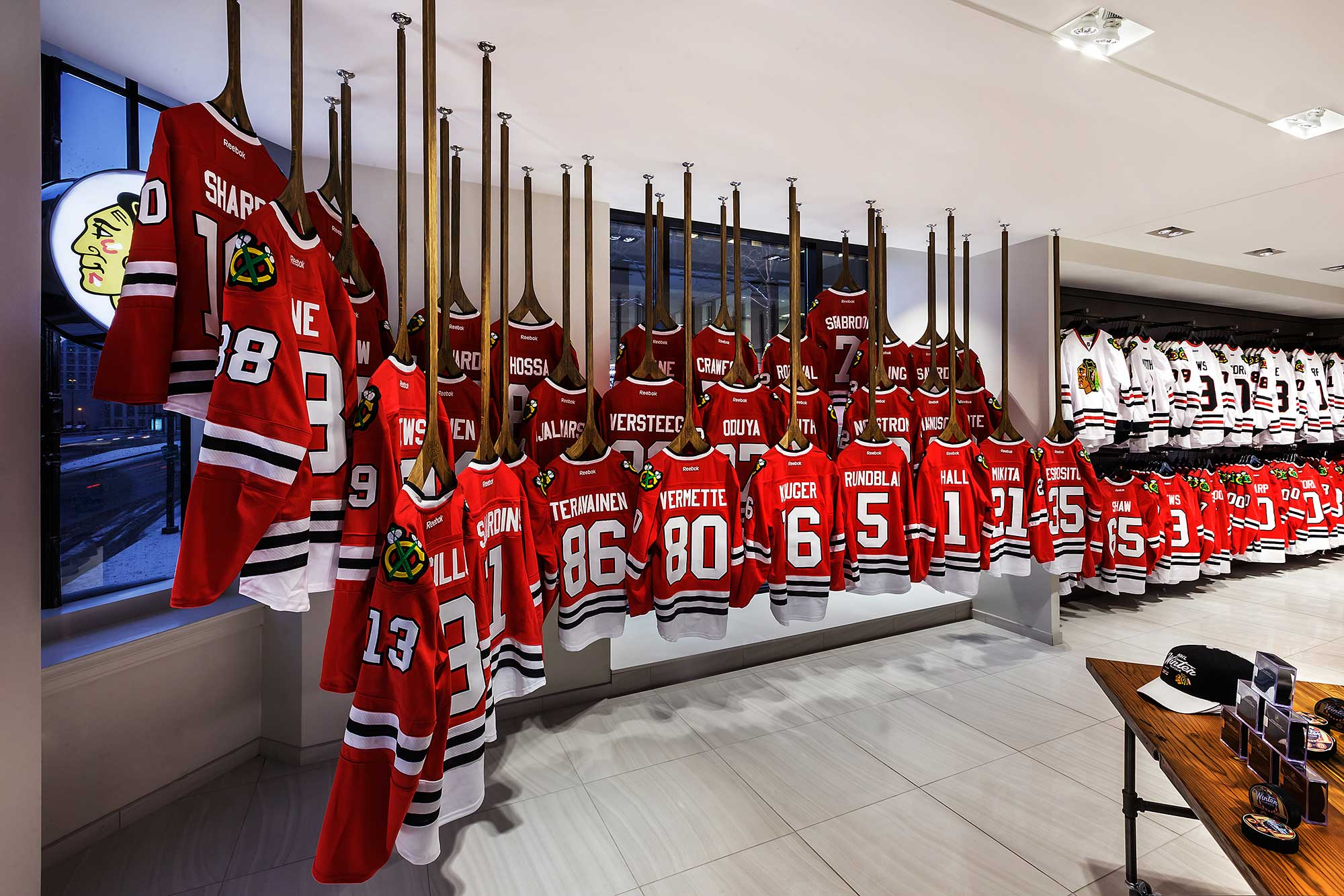 Interior of store with jerseys on display