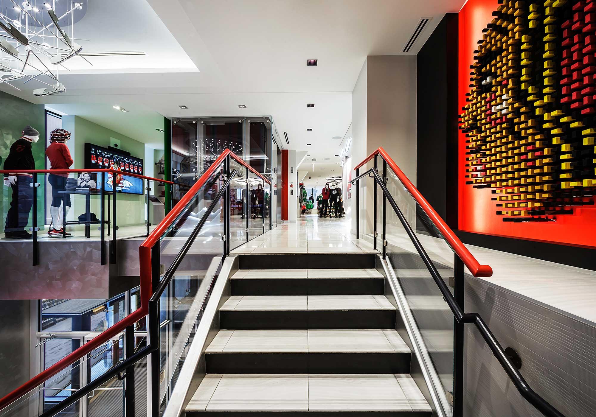 Stairway entering into Blackhawks store
