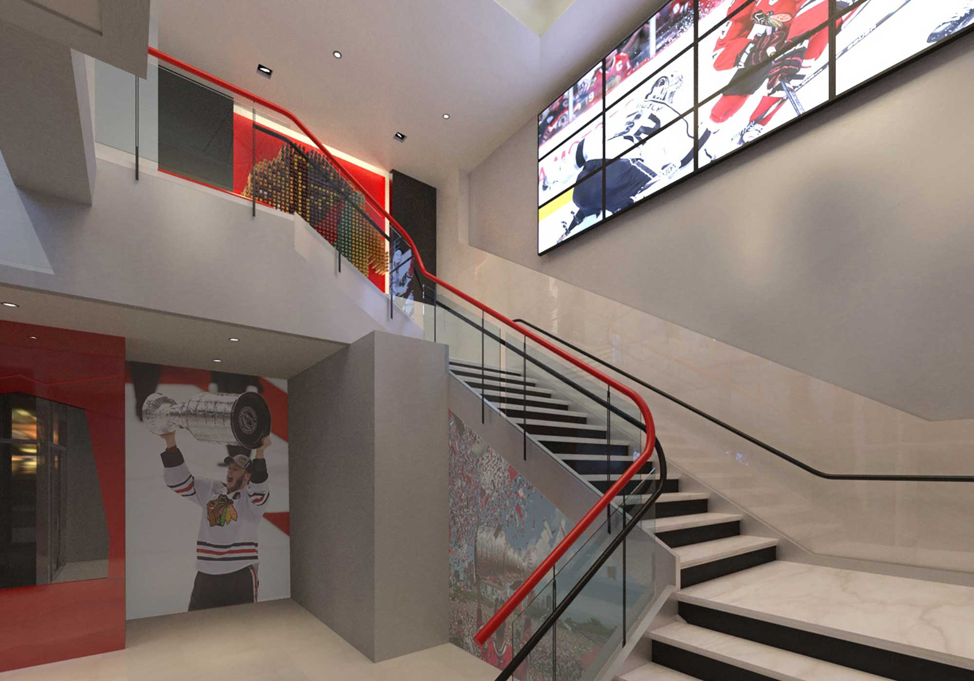 Rendering of staircase with video monitors posted overhead