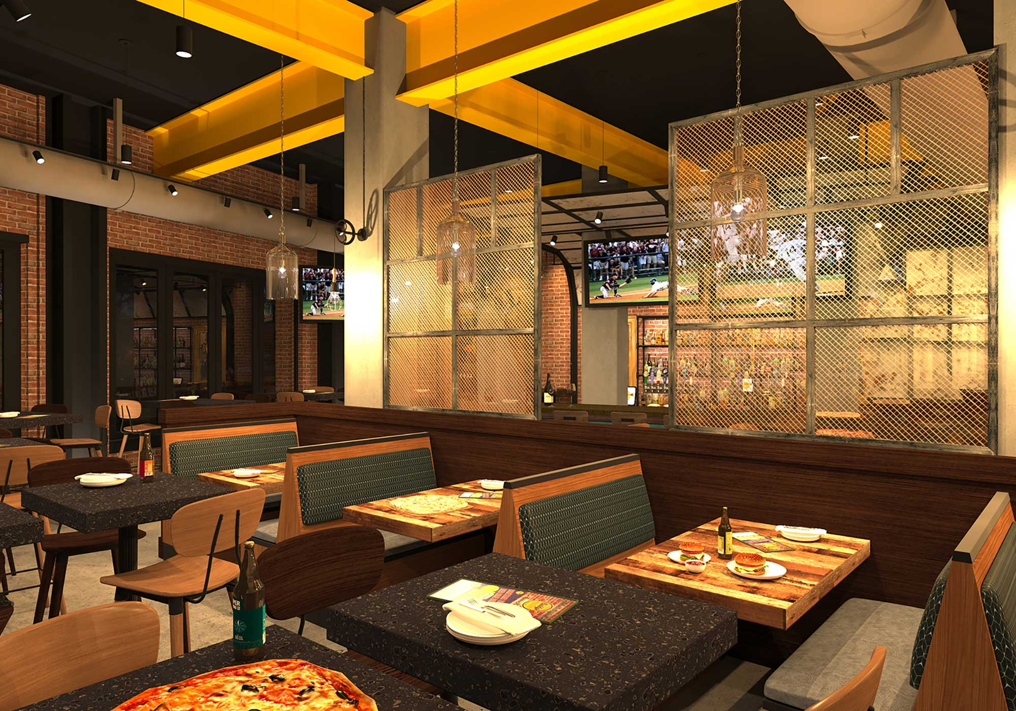 Multiple styles of dining areas - some booths, some tables