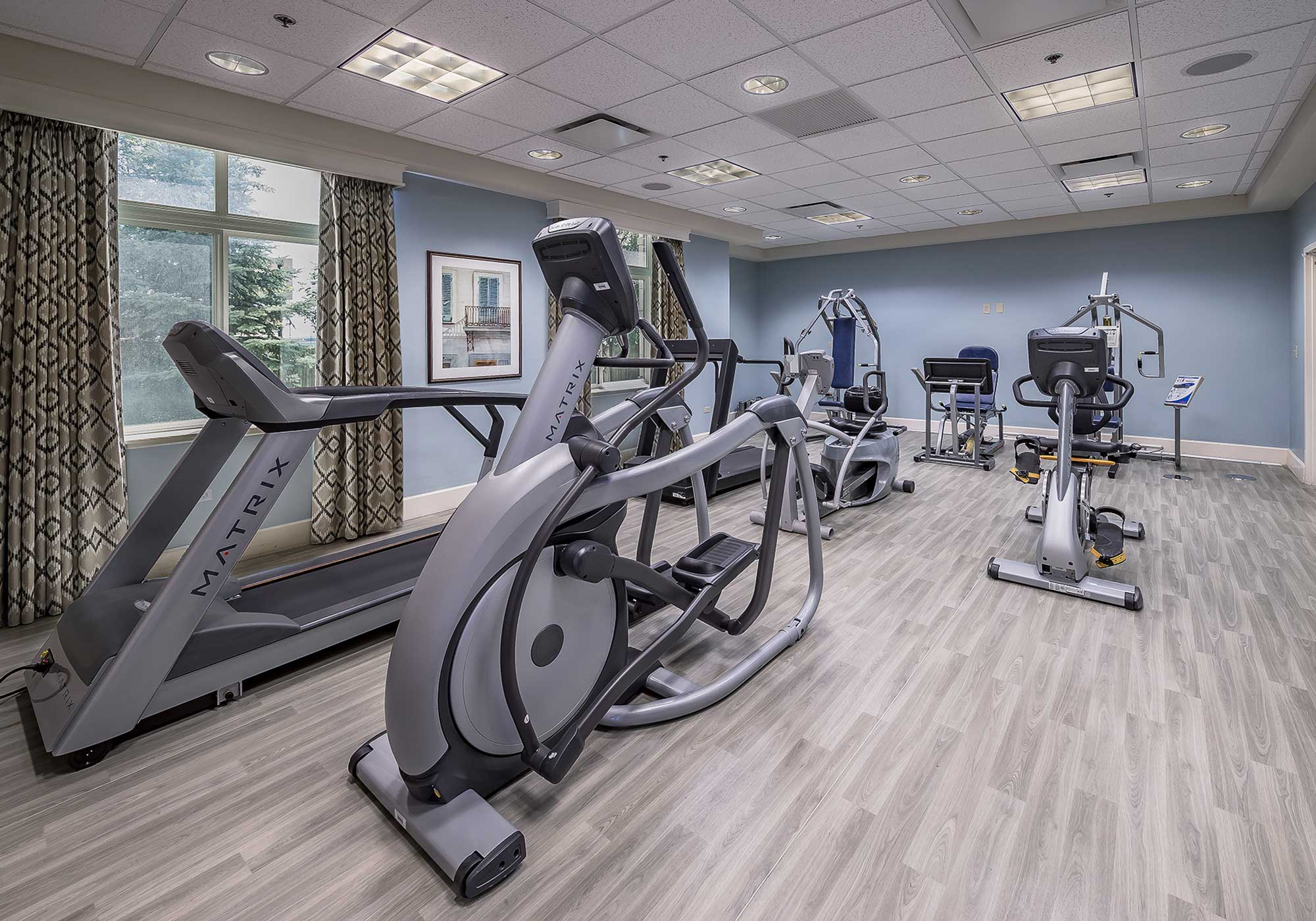 Work out room with equipment