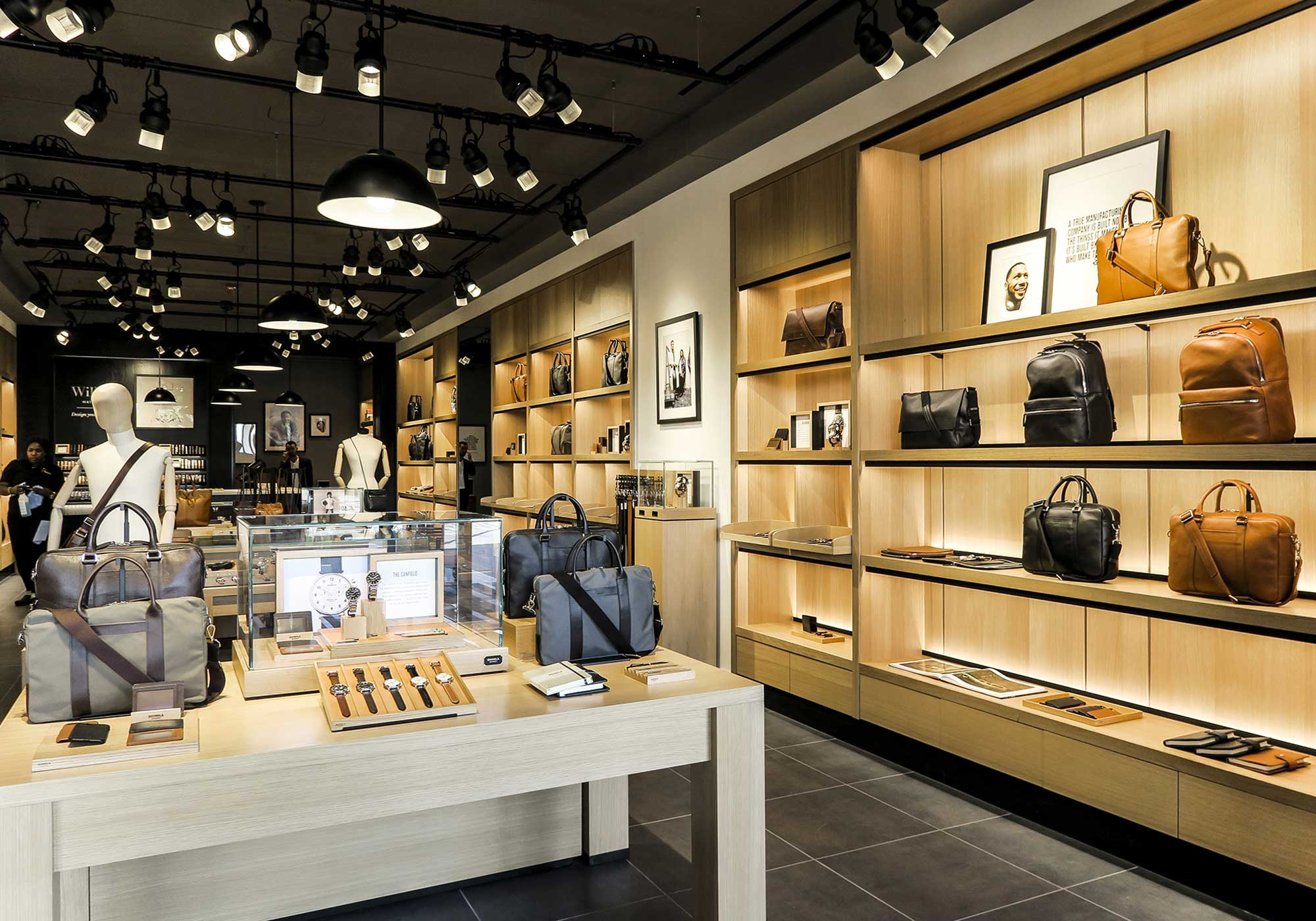 Display of watches and bags for men