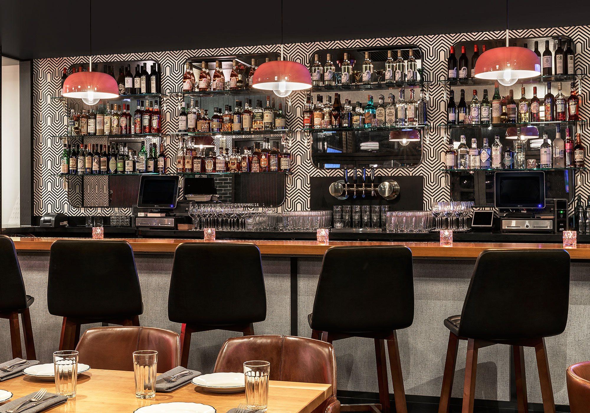 Detail of bar and barstools