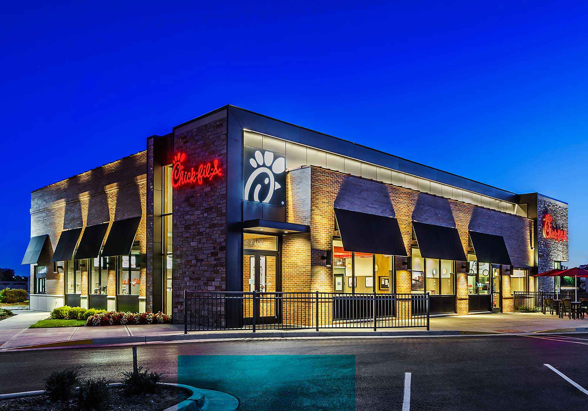 Exterior of Chic-Fil-A during the evening