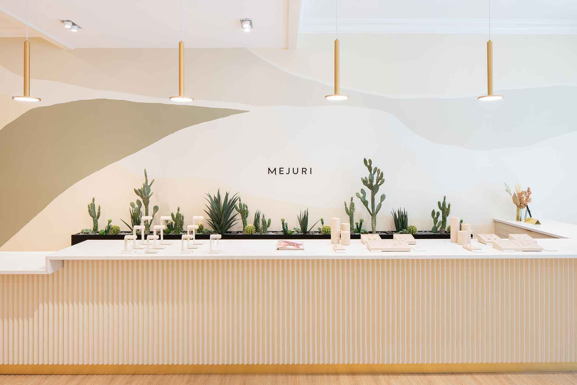 Counter at Mejuri with succulents behind it