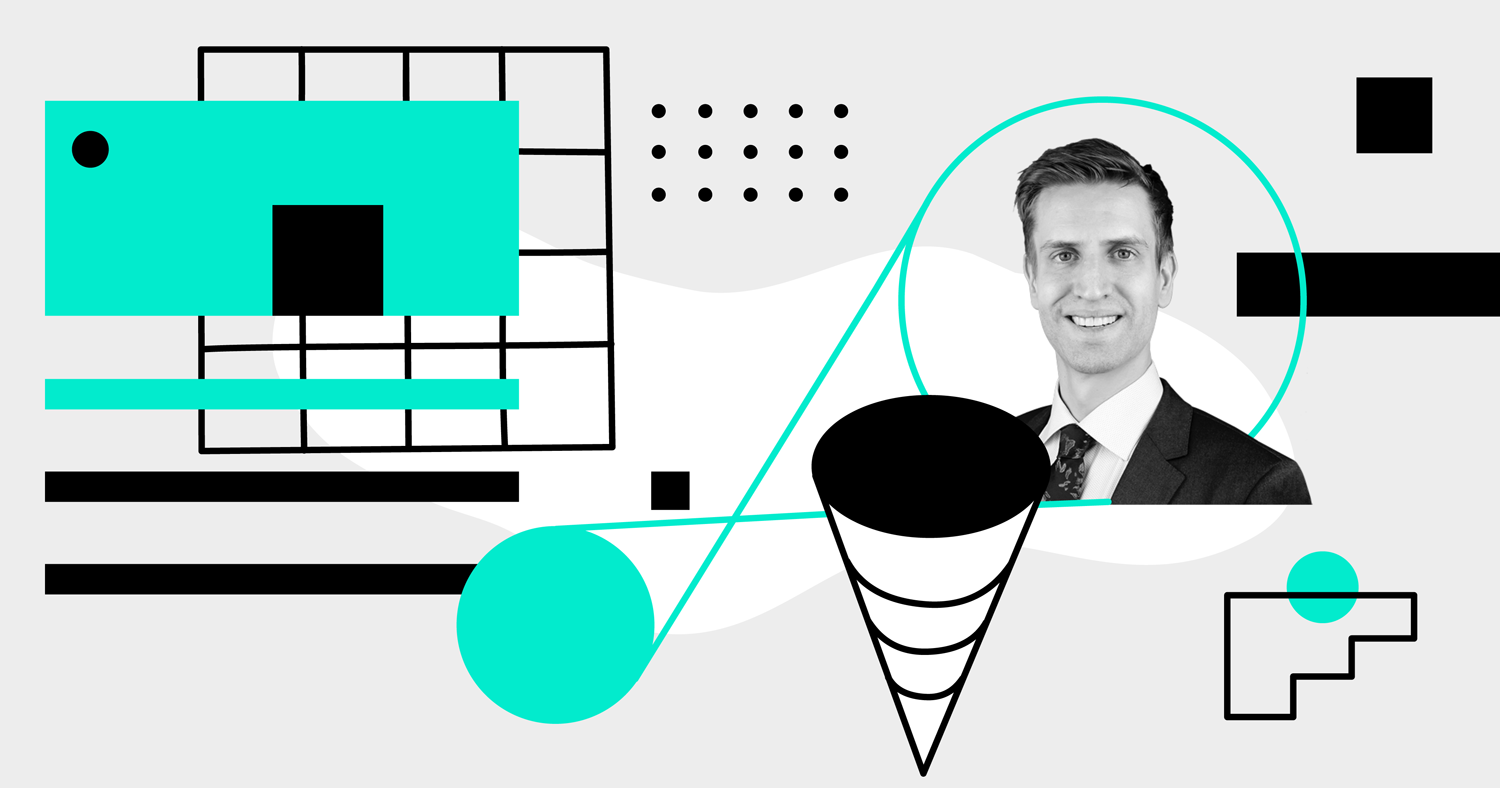 A portrait of CDA CPO Kyle Chipman surrounded by abstract black, white, and teal shapes