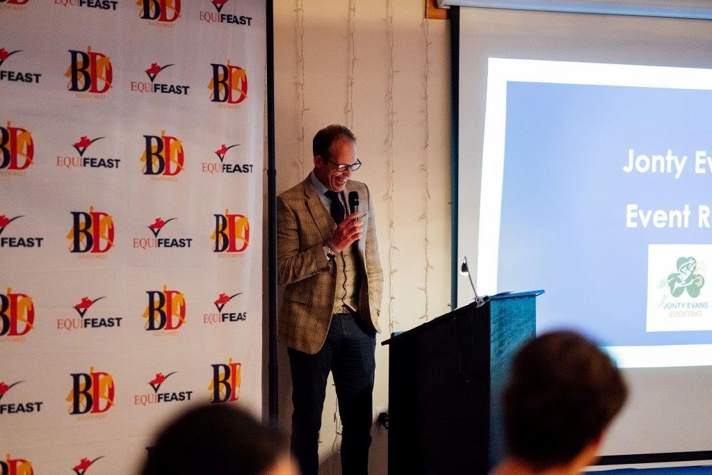 Jonty Evans speaking at British Dressage