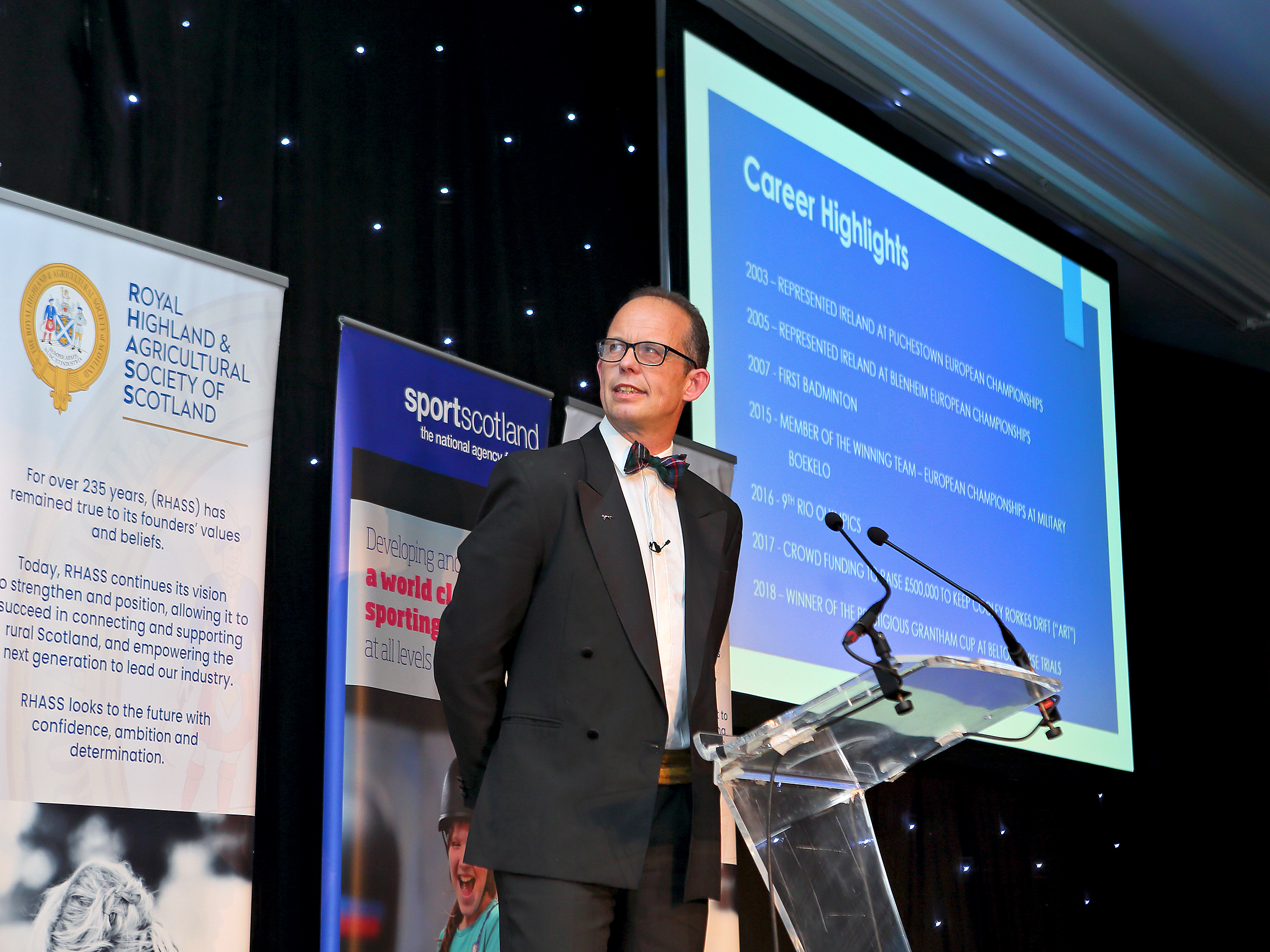 Jonty Evans speaking at the Scottish National Equestrian Awards