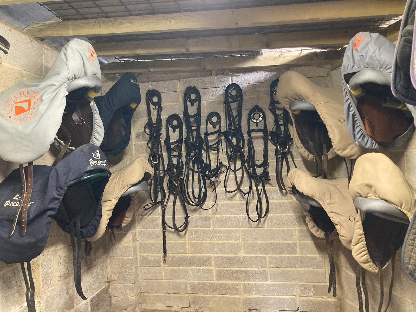 The tack room at Gamage Court, home of Jonty Evans