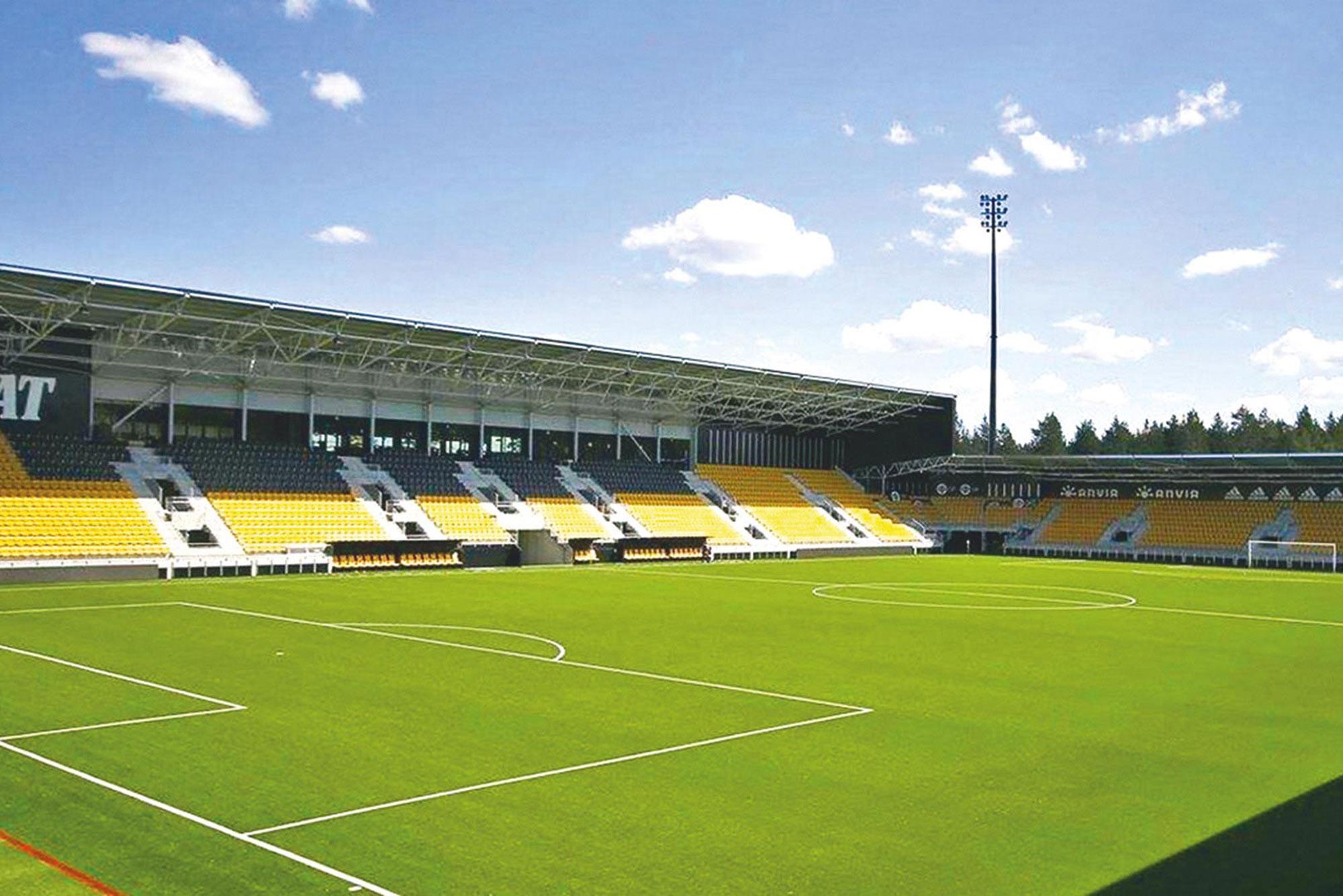 Trutec Oy toimitti OmaSp -stadionin kantavan teräsrungon asennettuna.
