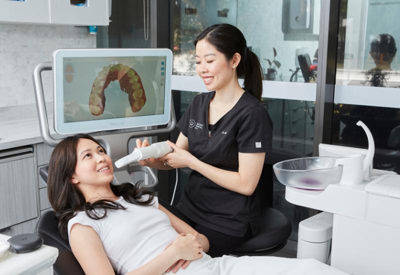 Patient getting a digital intraoral scan