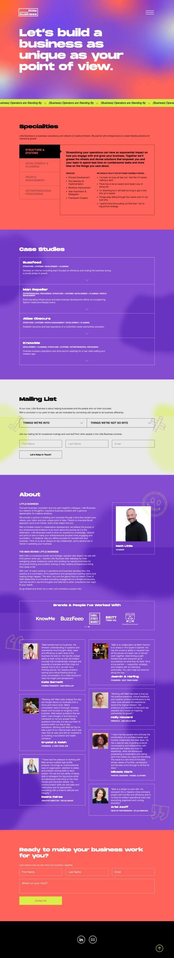 Little Business Website Screenshot