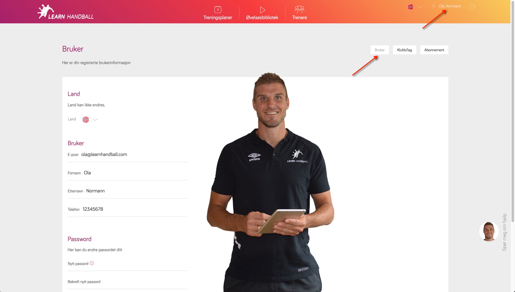 User Settings | Learn Handball
