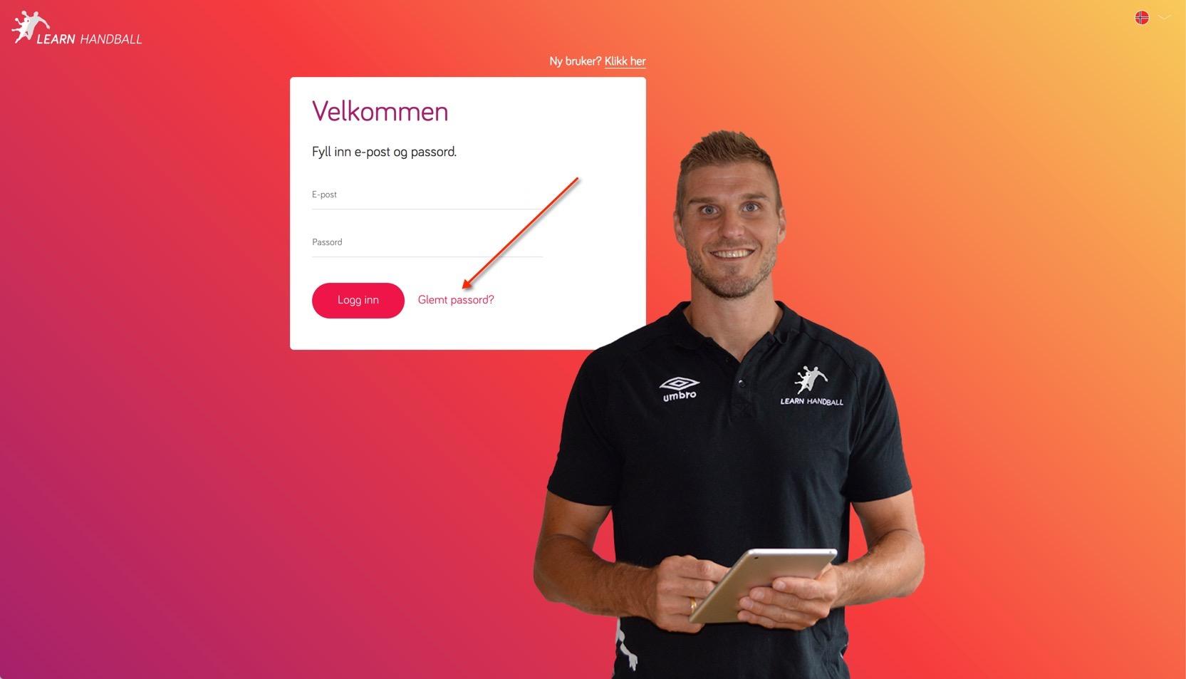 Learn Handball glemt passord