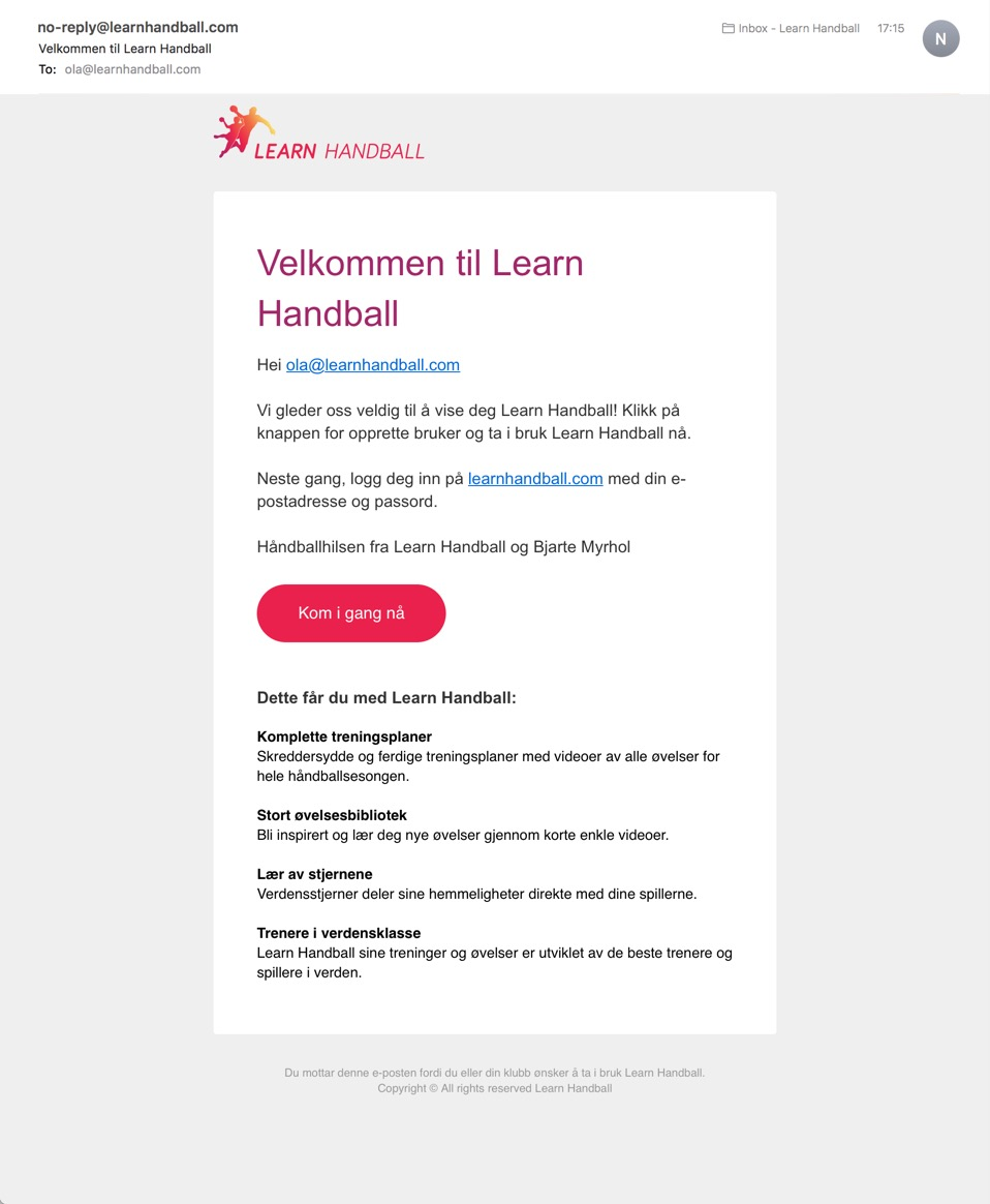 Learn Handball invitation email