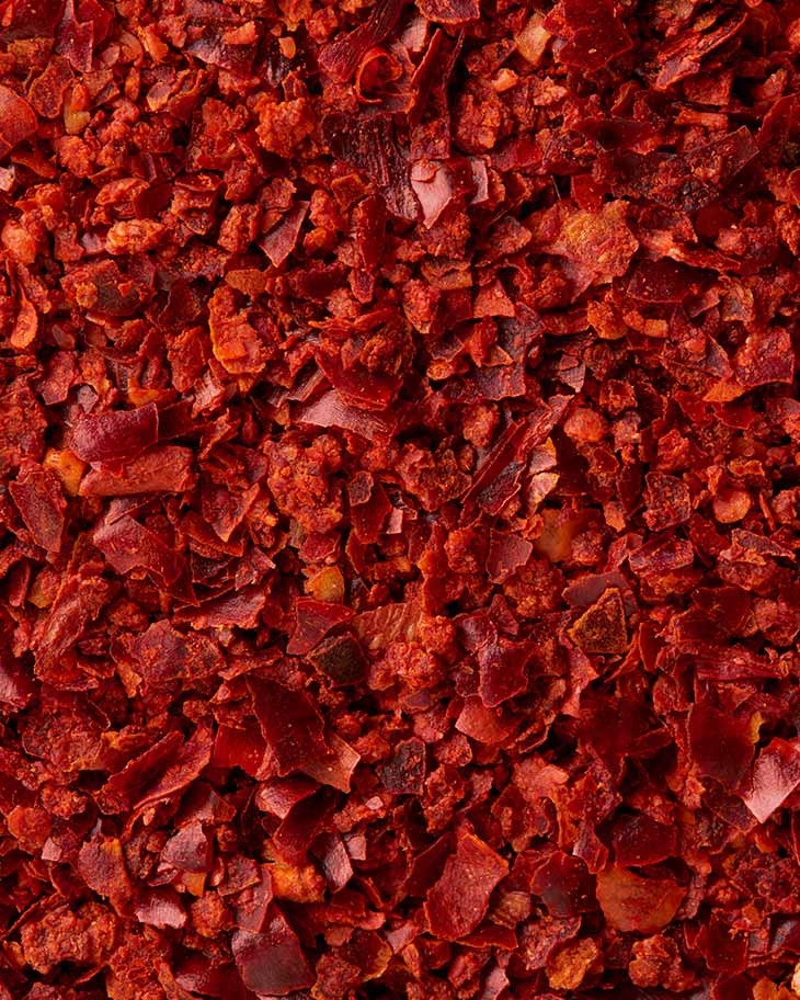 Chili flakes close-up from SOS Foods
