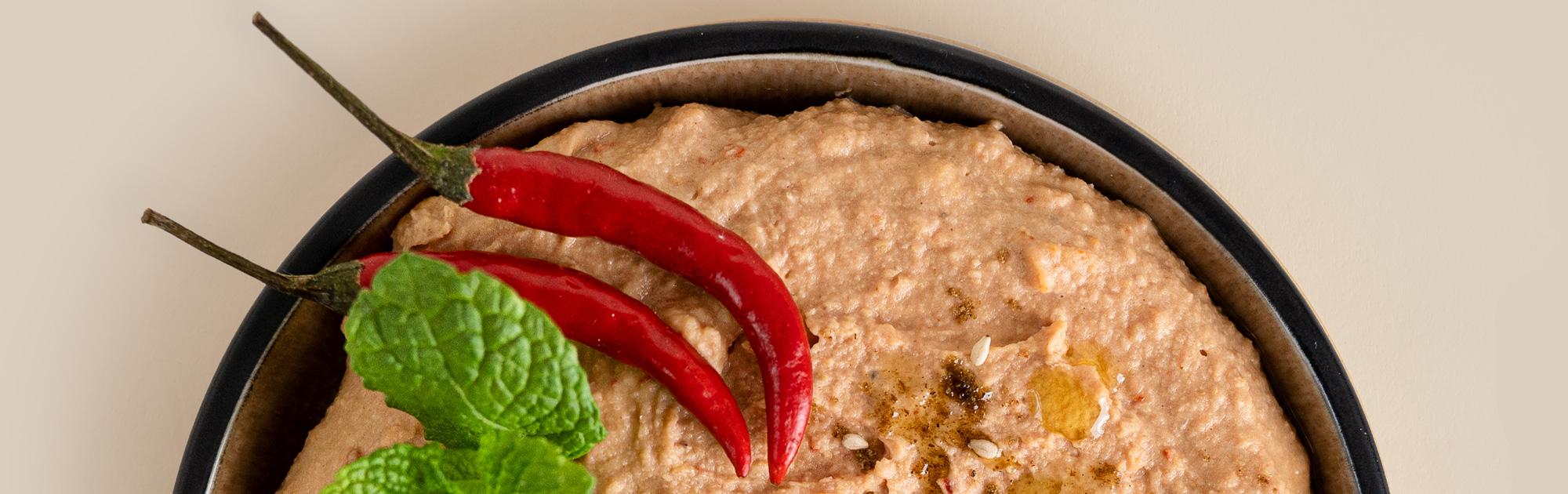 Hummus mit Chili und Kreuzkümmel