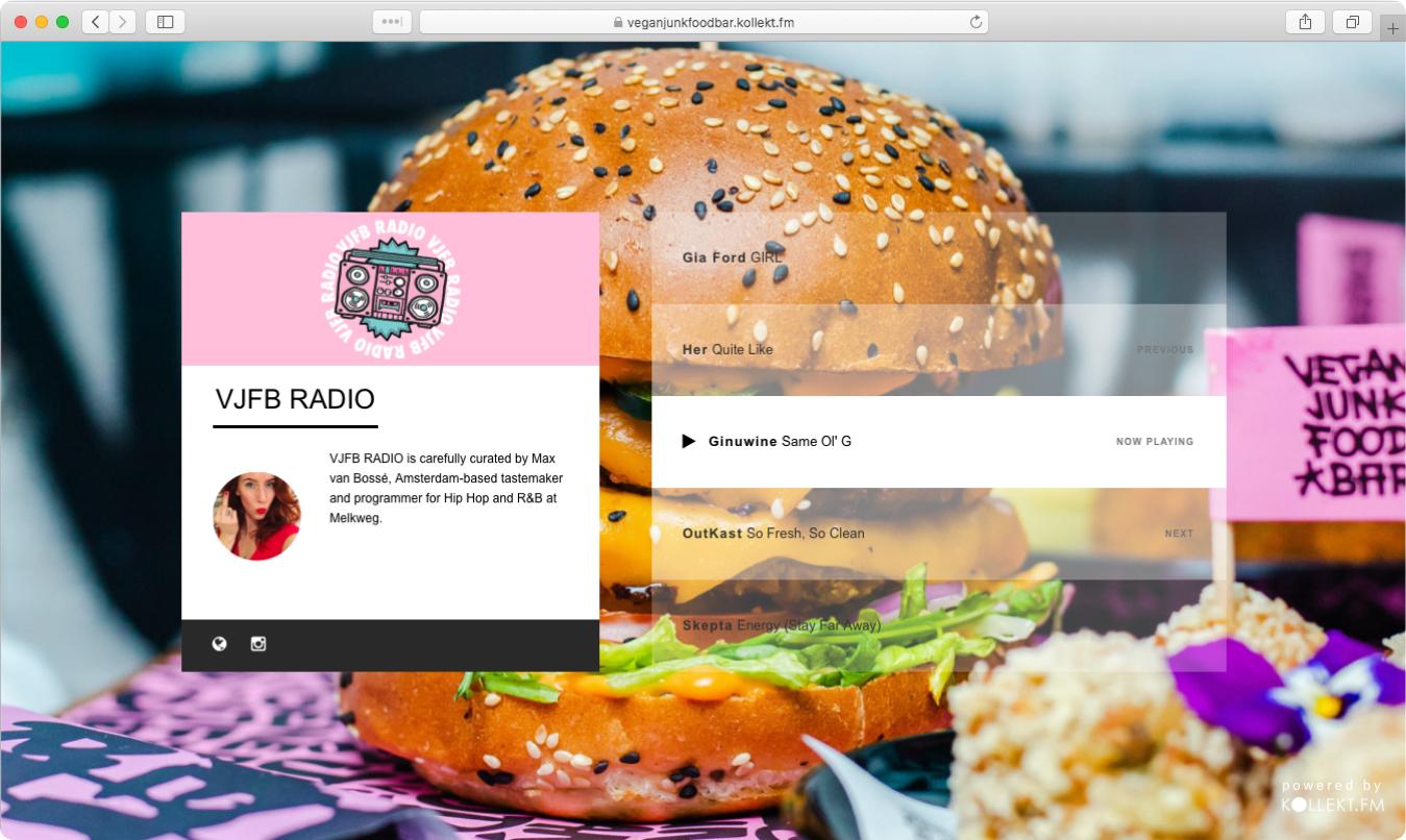 vegan junk food bar online branded music radio station for business by kollek.fm