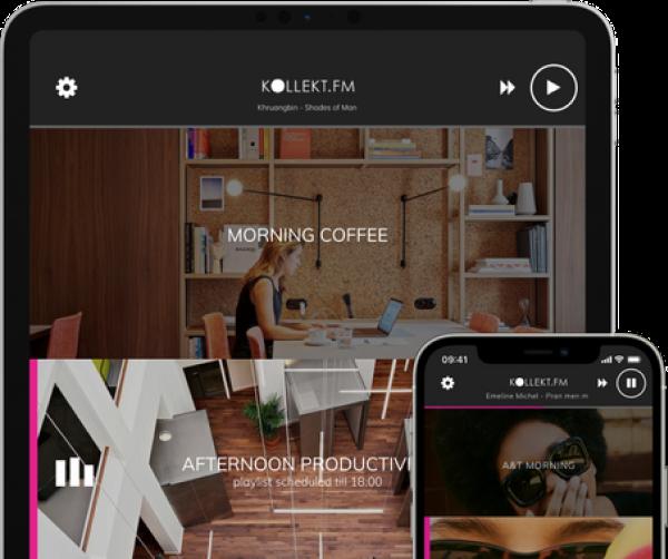 kollekt.fm mobile music player, tablet & phone