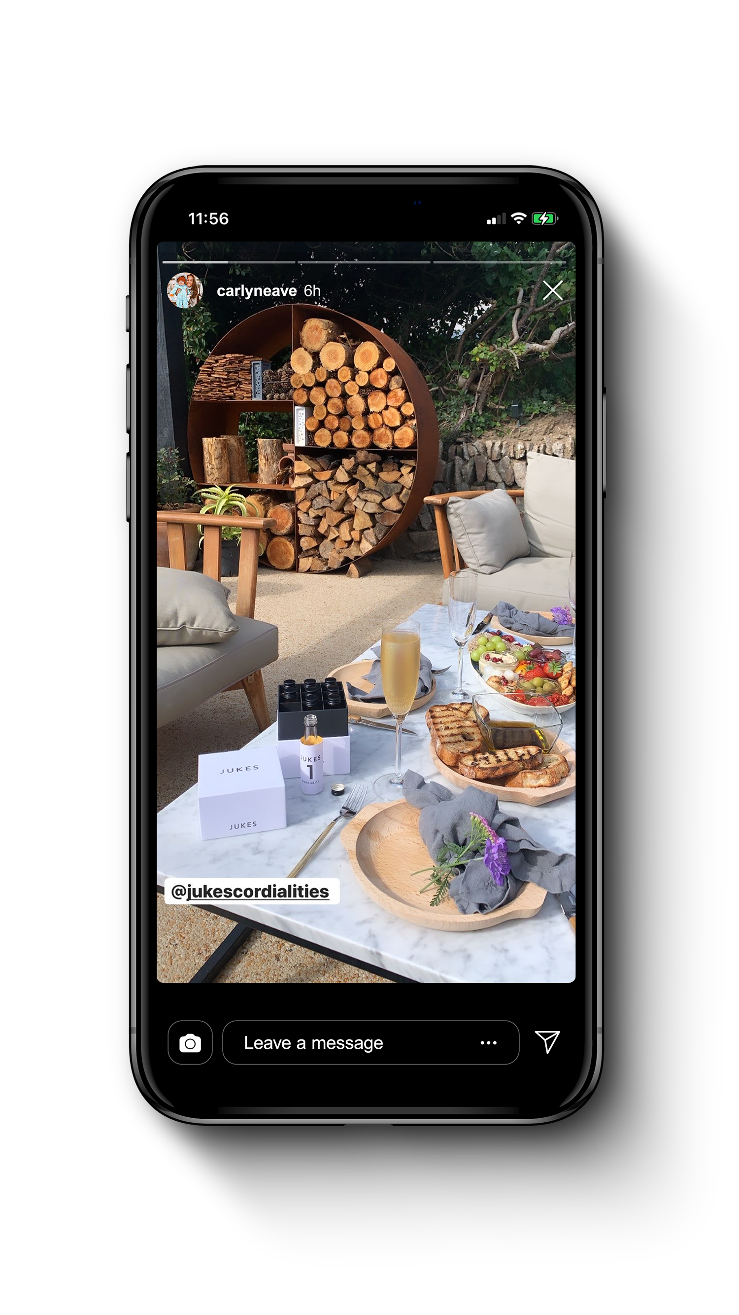 Iphone showing instagram story of Jukes products in use