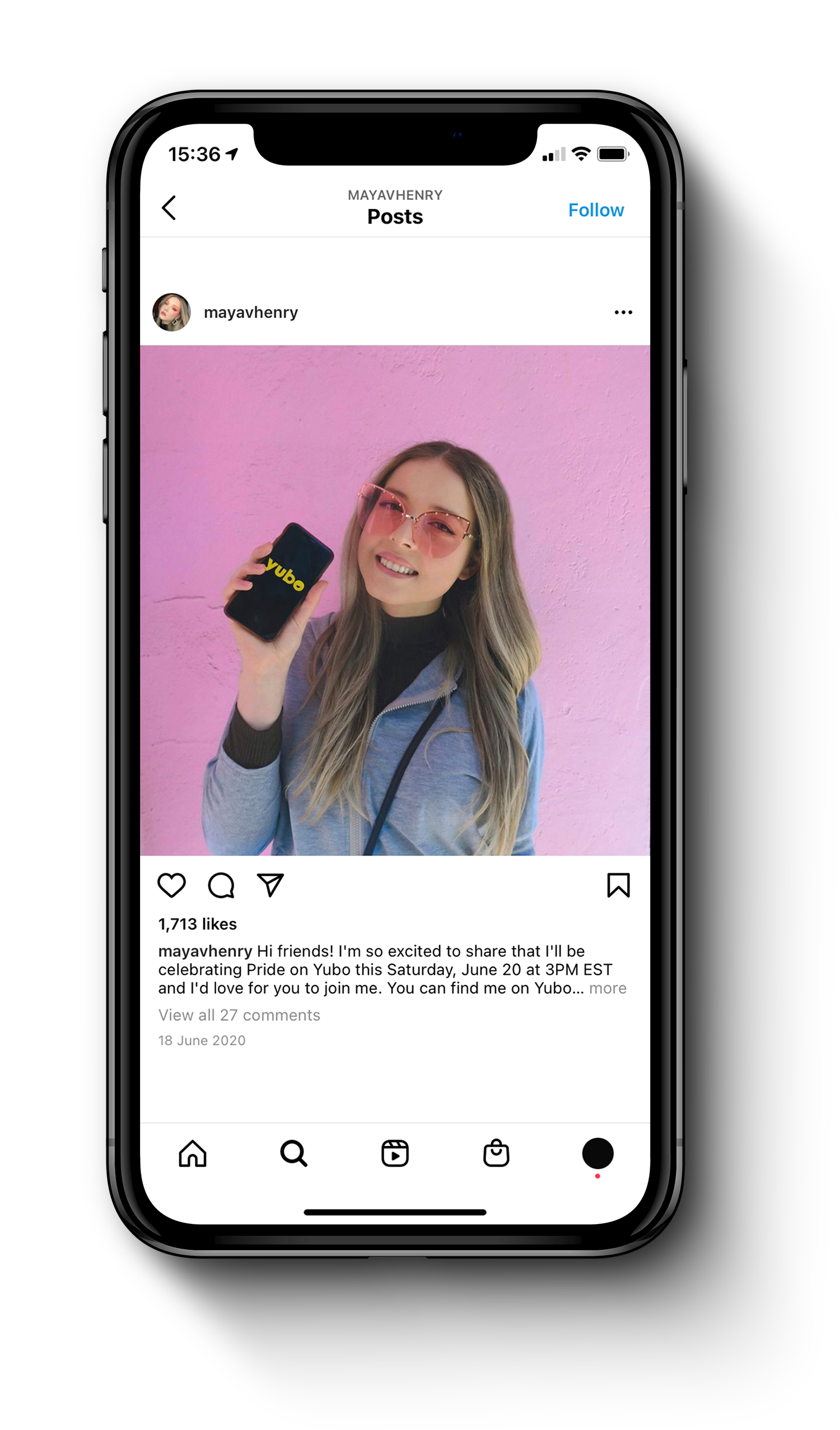 iPhone showing an Instagram post of Maya Henry using Yubo