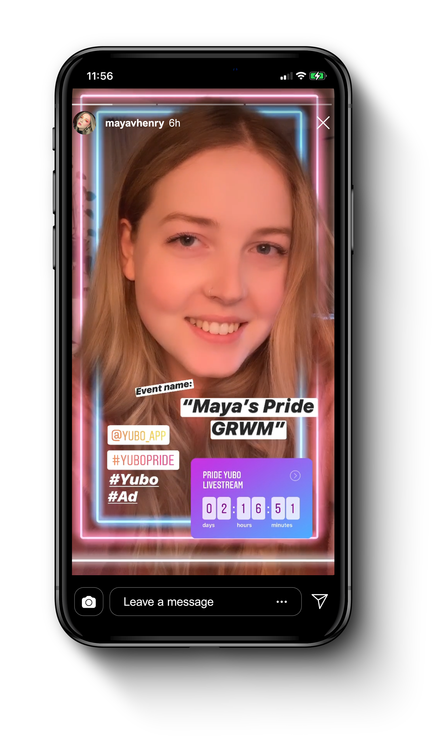 iPhone showing instagram story of Maya Henry promoting Yubo
