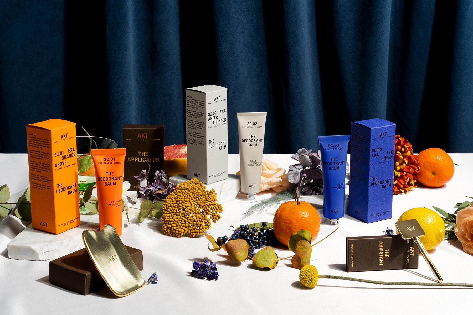 Editorial scene of AKT deodorant products