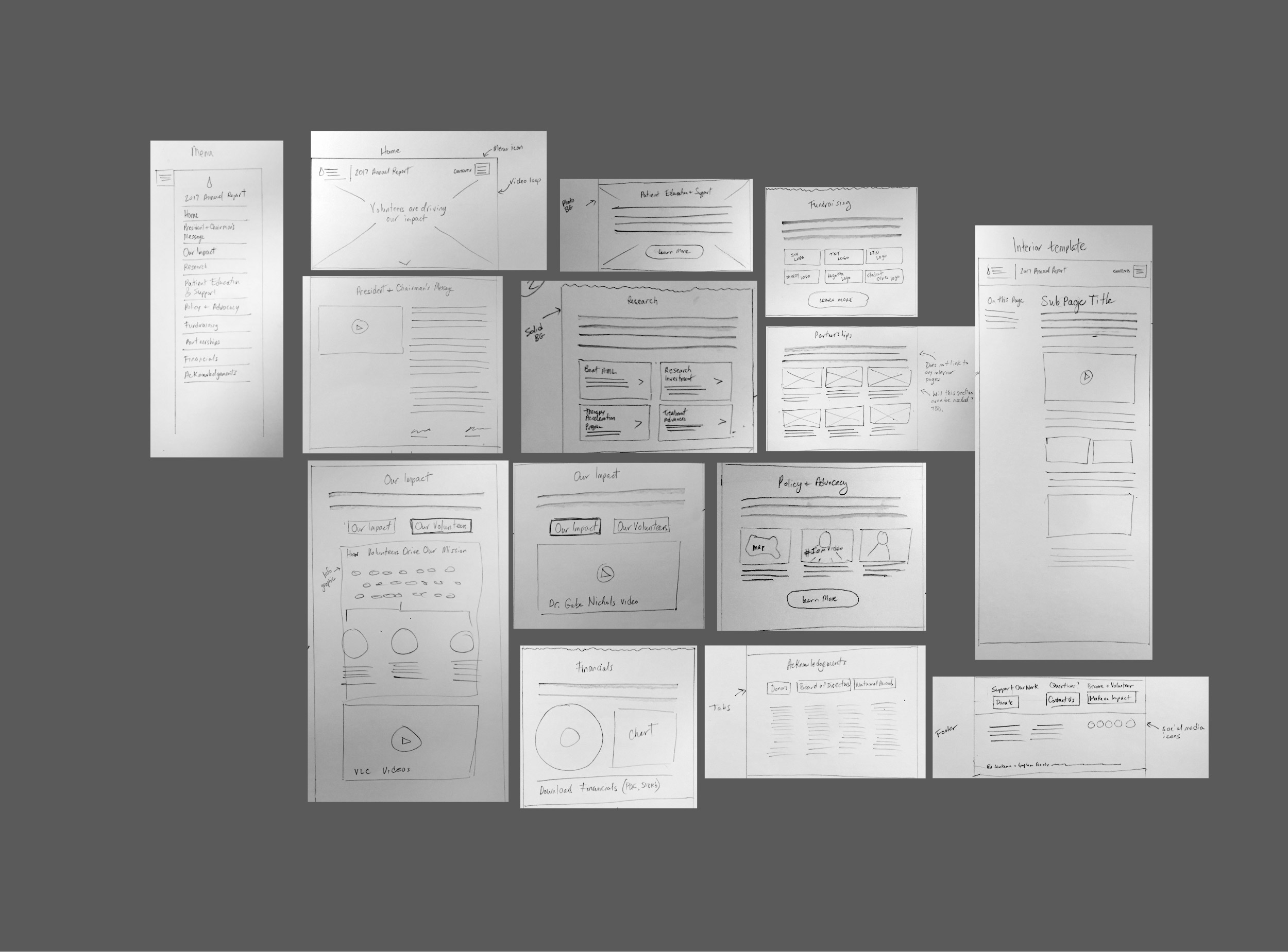 LLS Digital Annual Report wireframe sketches