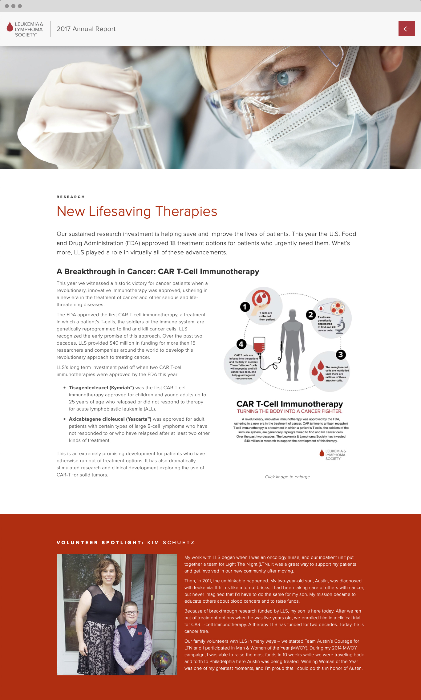 LLS Digital Annual Report new therapies page