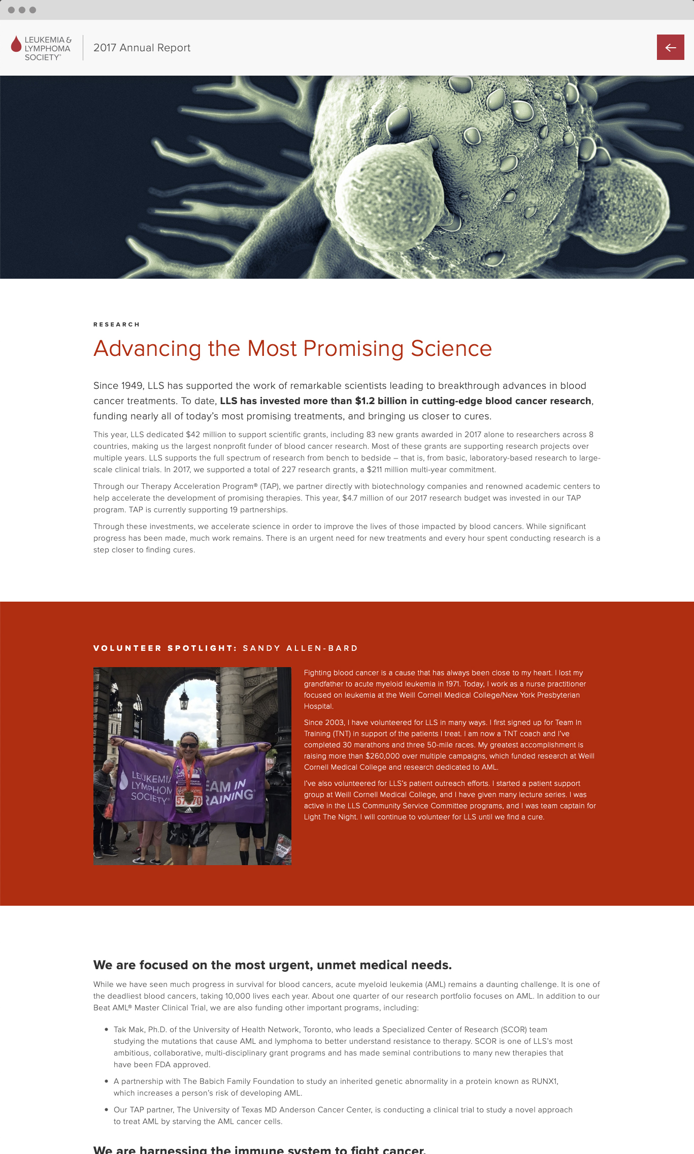 LLS Digital Annual Report science advancements page