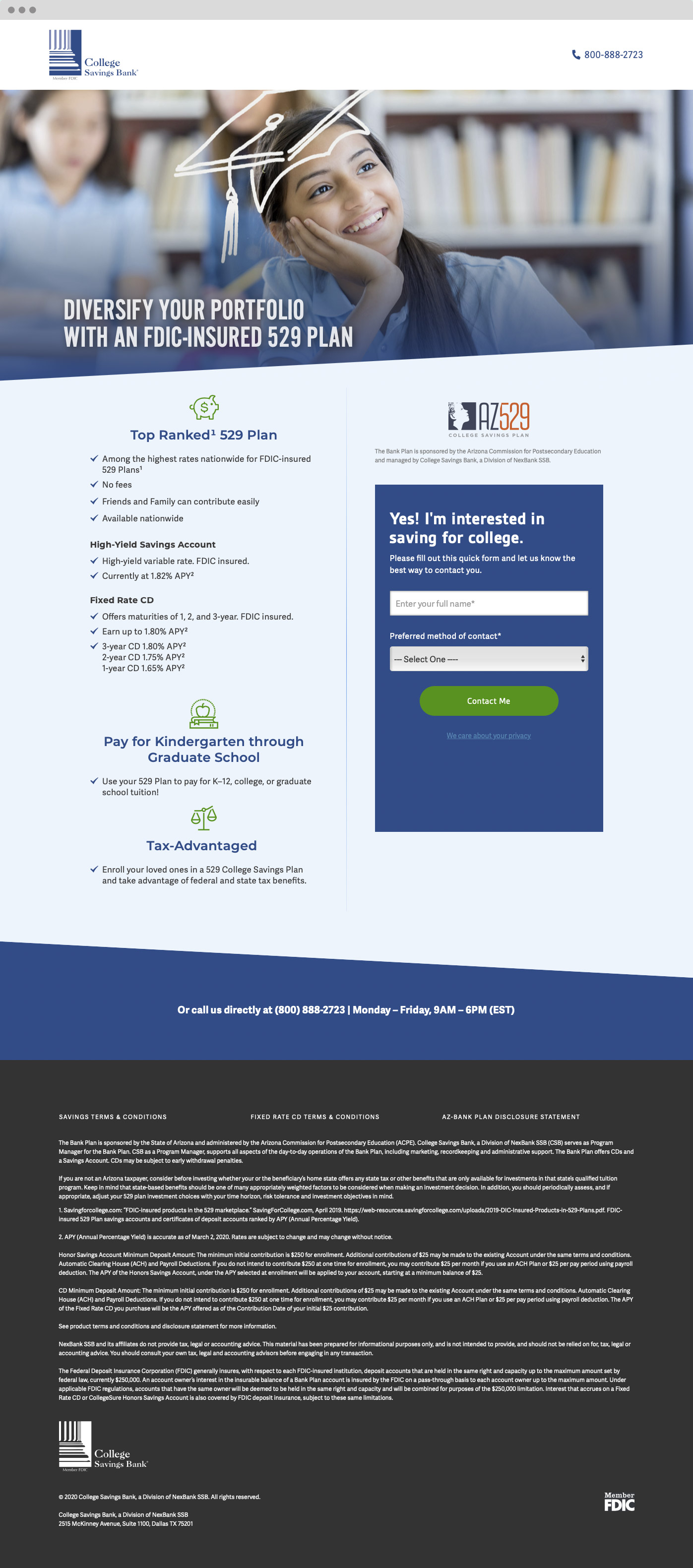 CSB product landing page screen