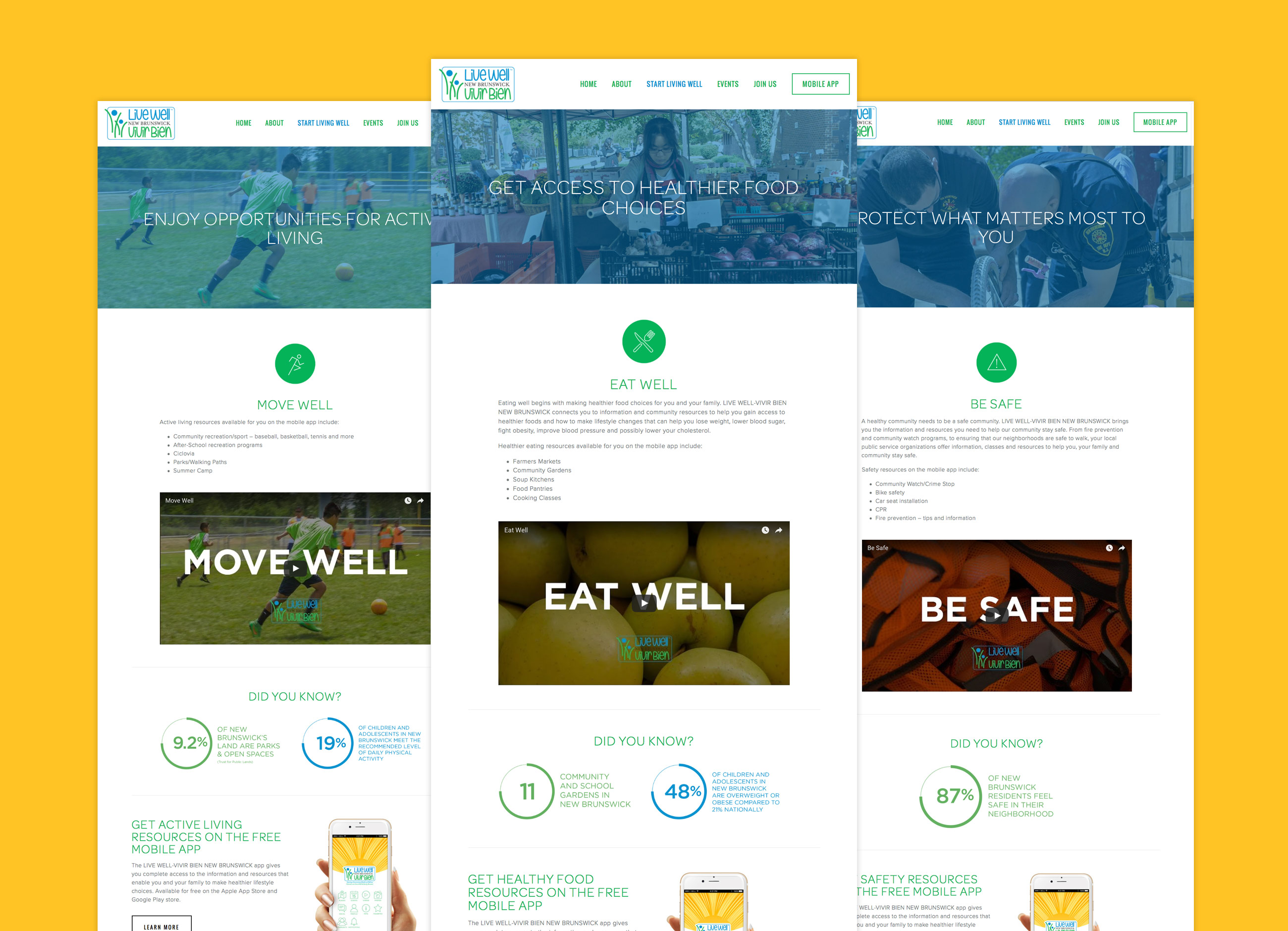 Live Well New Brunswick website interior pages