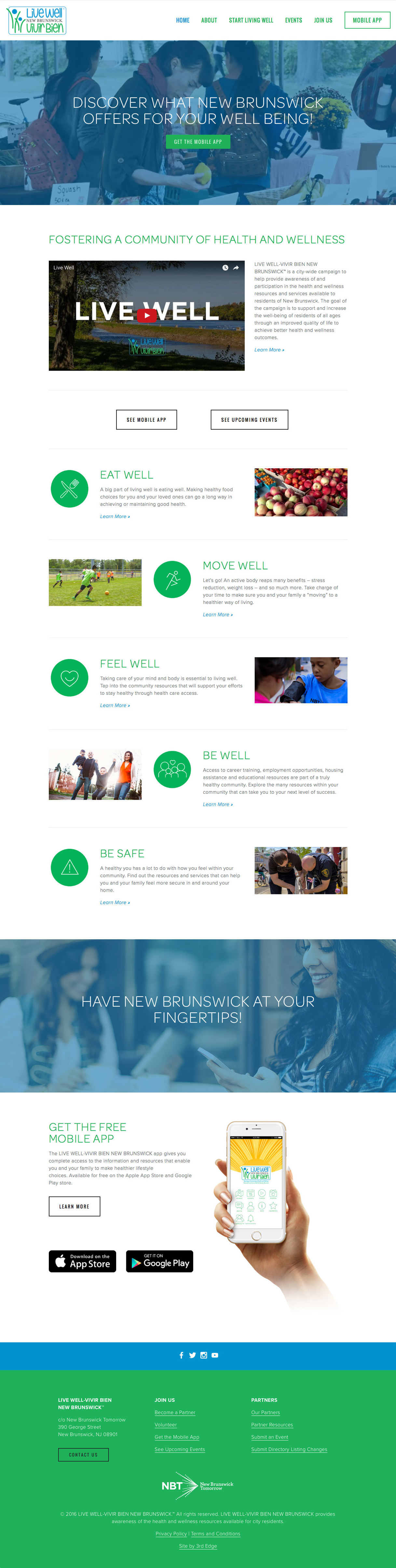Live Well New Brunswick website home page