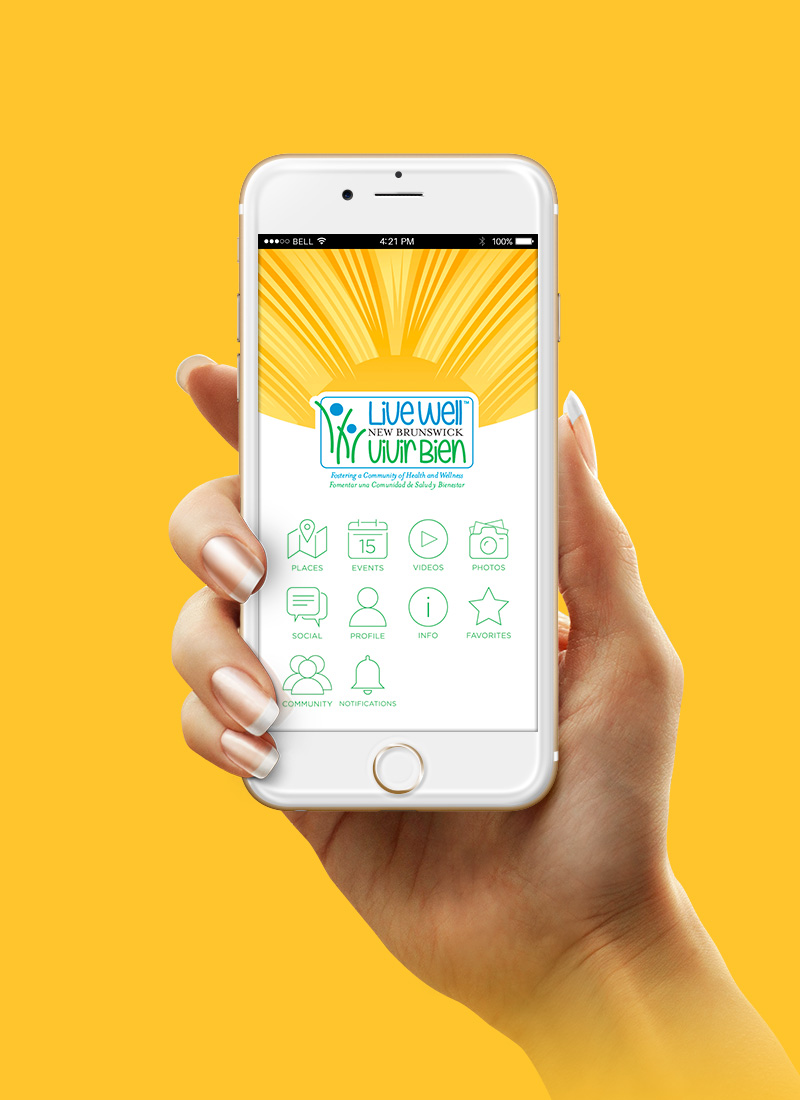 hand holding Live Well mobile app in phone
