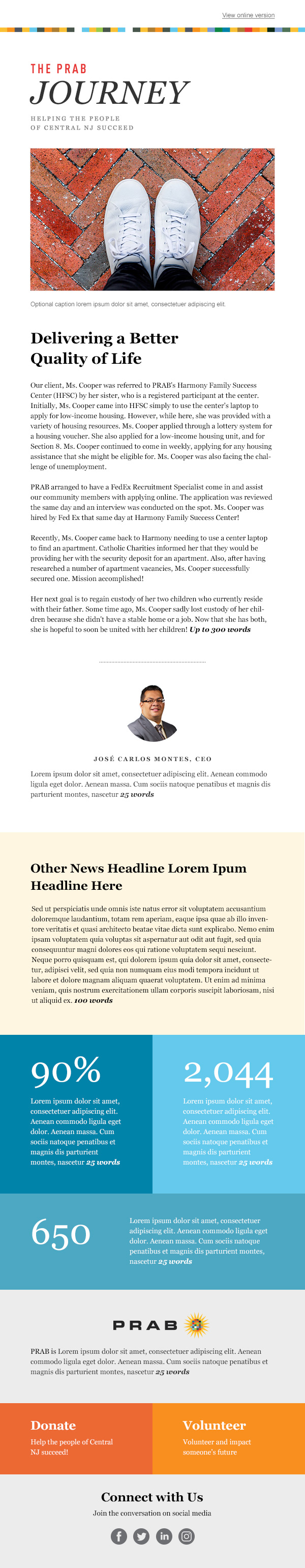 PRAB email newsletter template