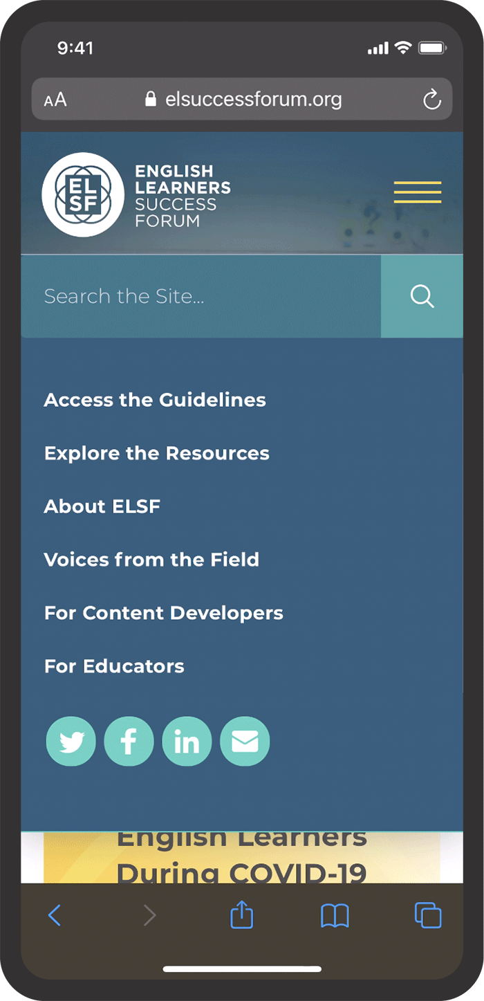 ELSF Website mobile view