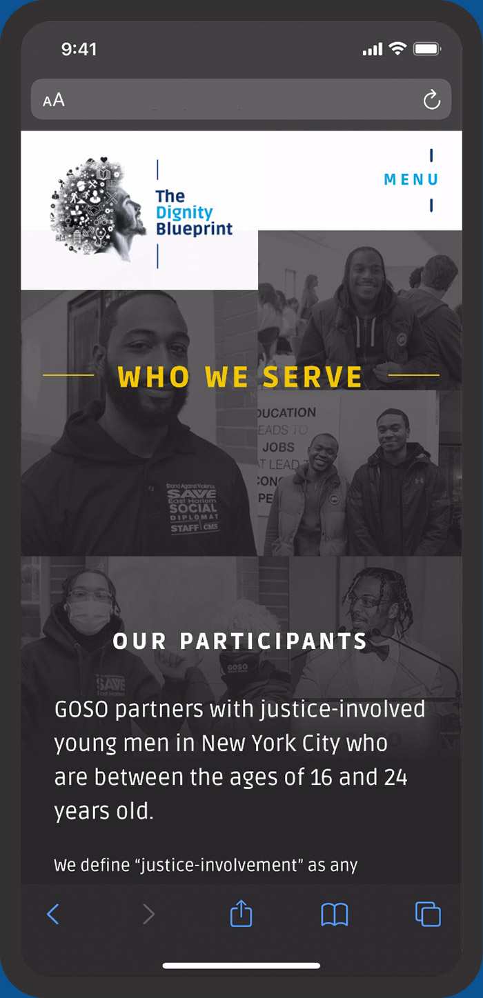 GOSO fundraising campaign mobile view